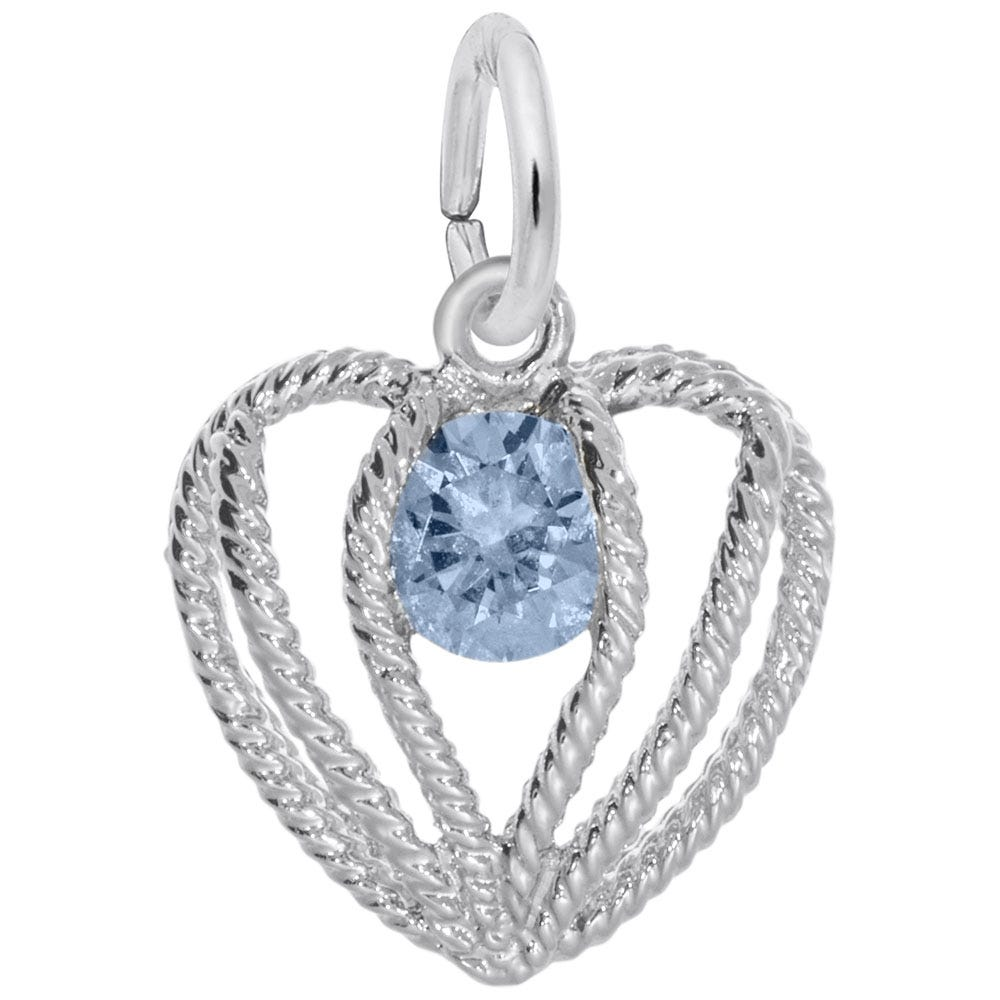 March Birthstone Held in Love Heart Charm in 14k White Gold