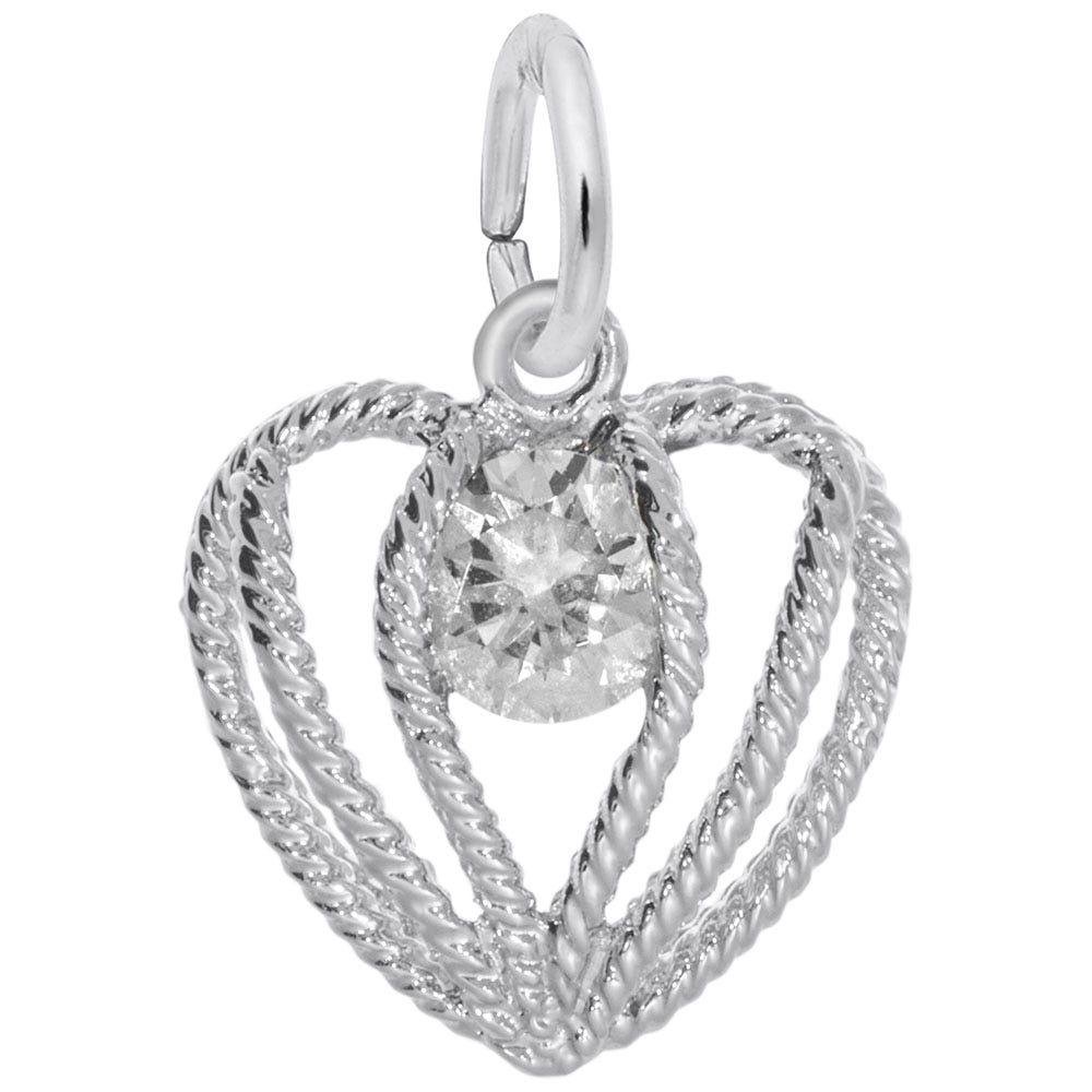 April Birthstone Held in Love Heart Charm in 14k White Gold