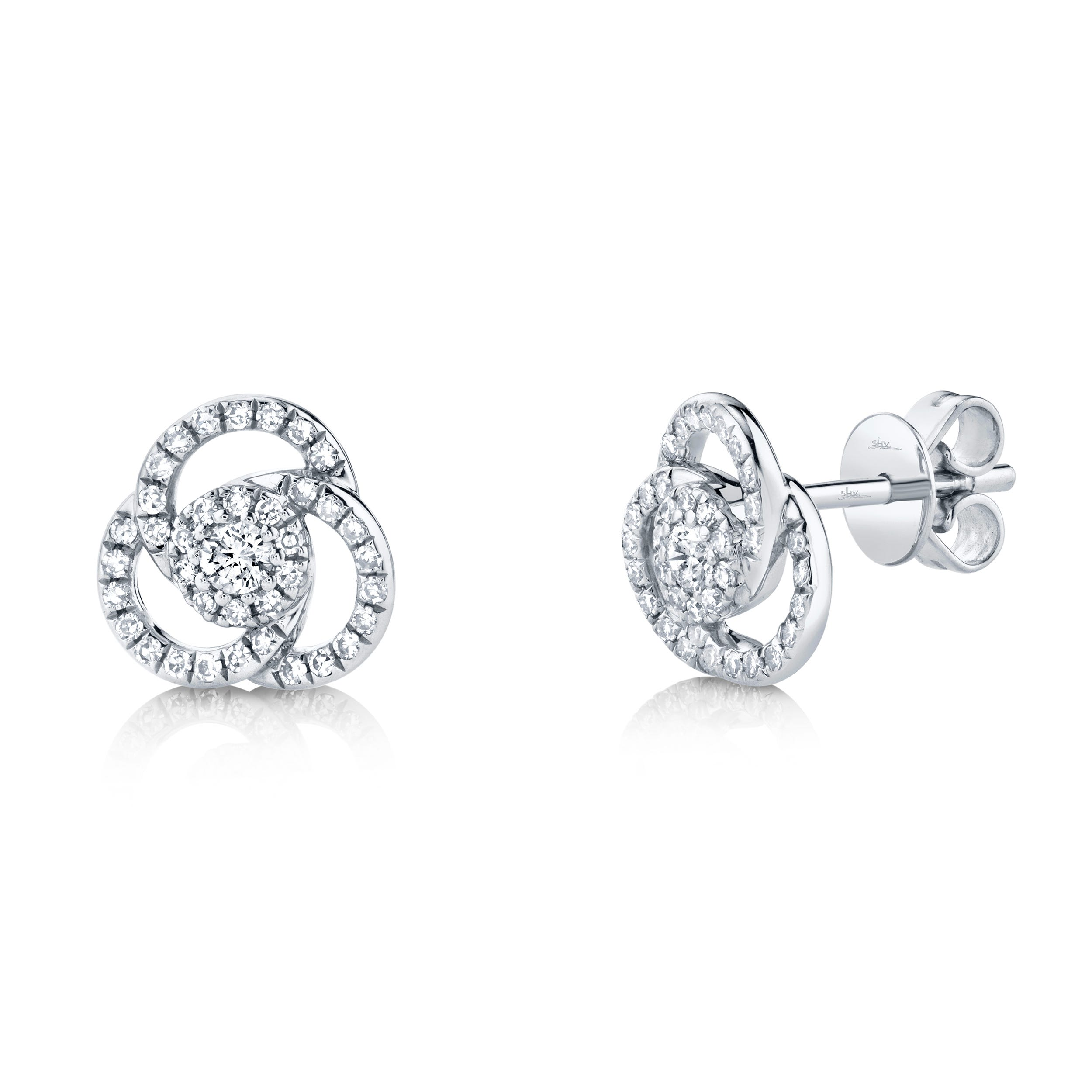 Shy Creation Knot Diamond 1/3ctw. Stud Earrings in 14k White Gold SC55008024