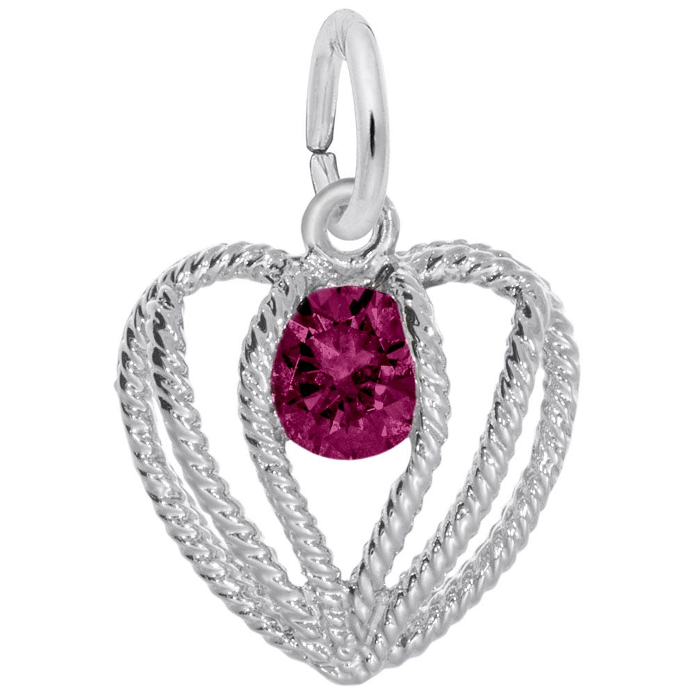 July Birthstone Held in Love Heart Charm in Sterling Silver