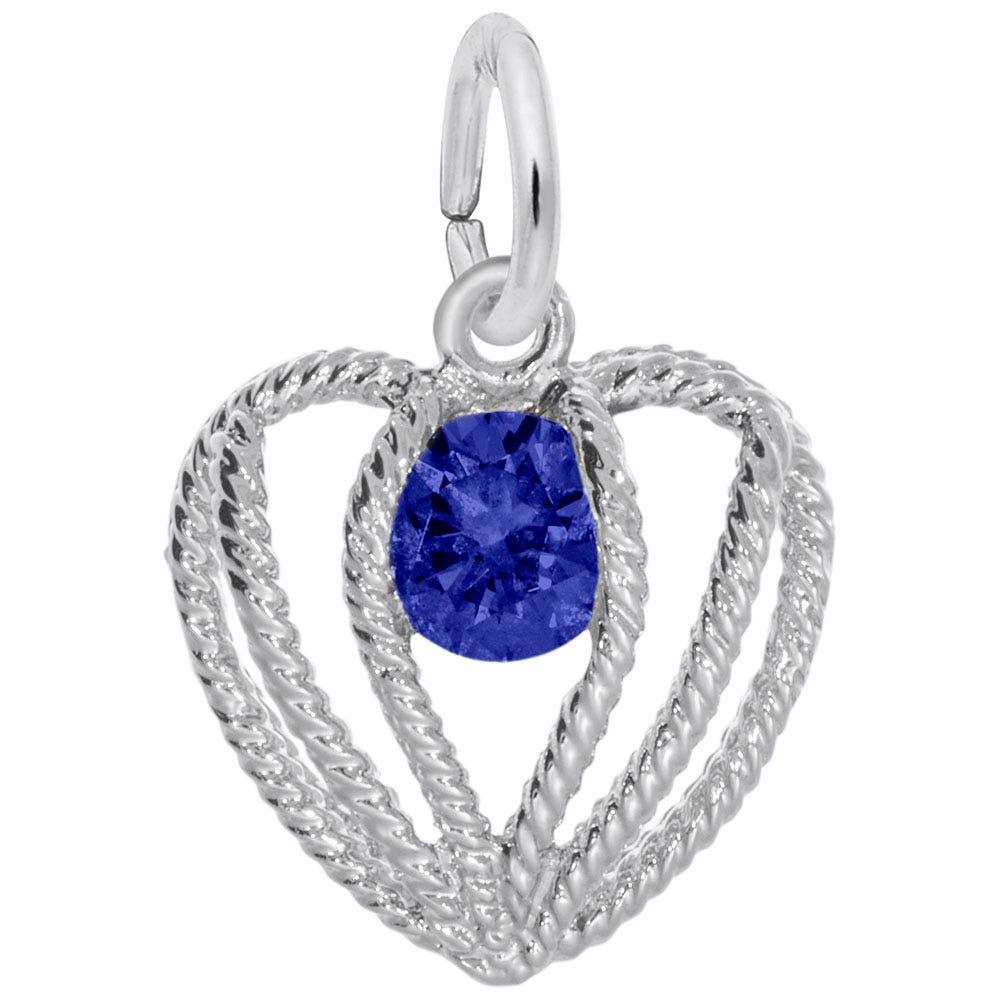 September Birthstone Held in Love Heart Charm in Sterling Silver
