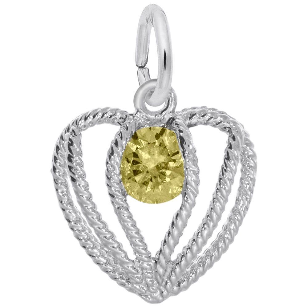 November Birthstone Held in Love Heart Charm in Sterling Silver