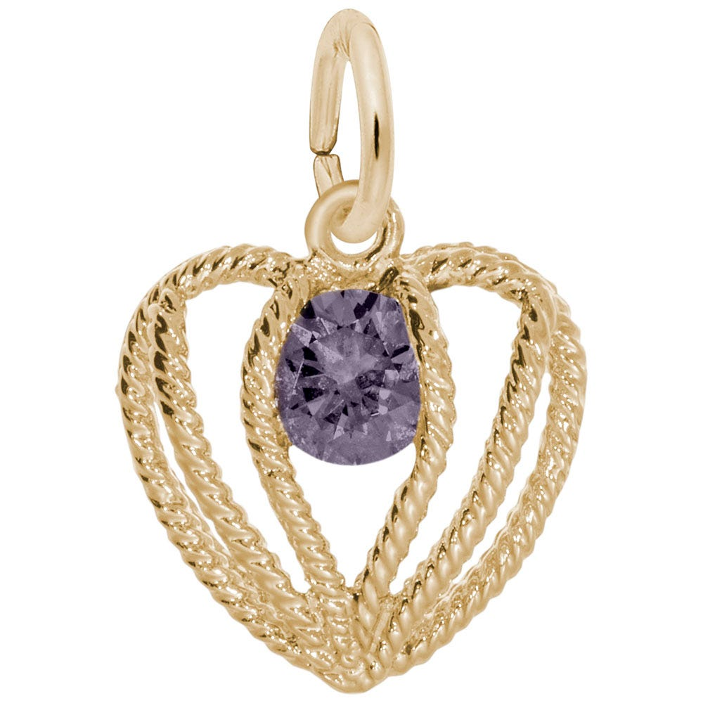 June Birthstone Held in Love Heart Charm in Sterling Silver/ Gold Plated