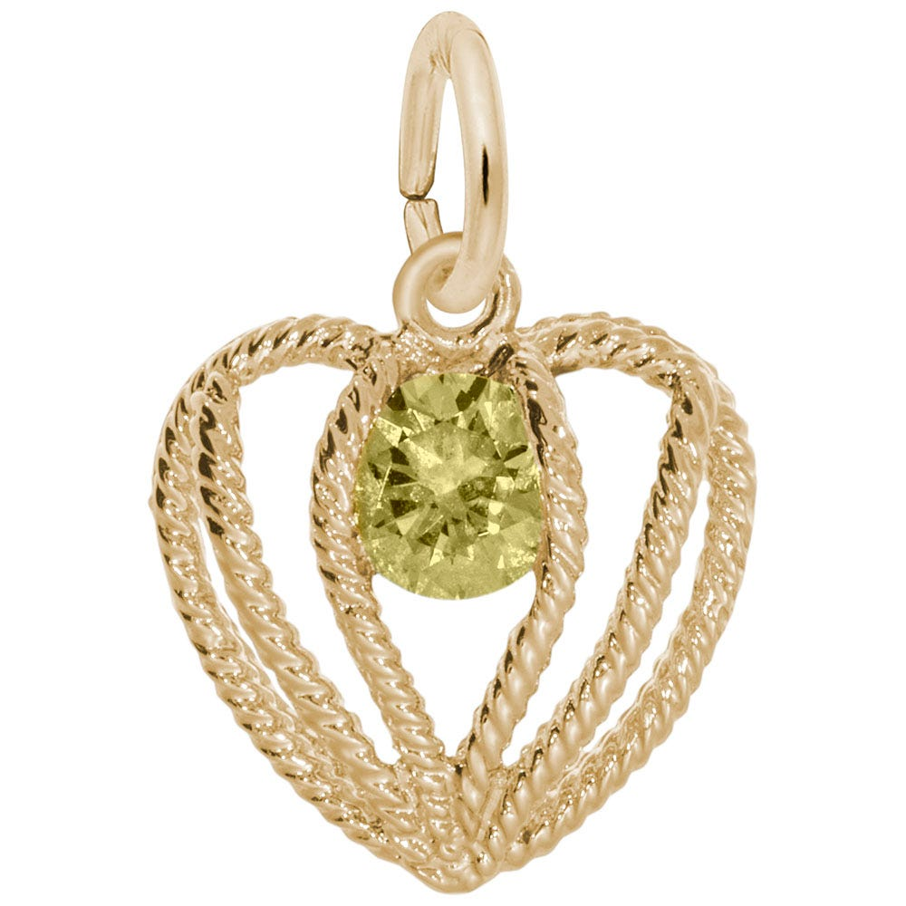 November Birthstone Held in Love Heart Charm in Sterling Silver/ Gold Plated