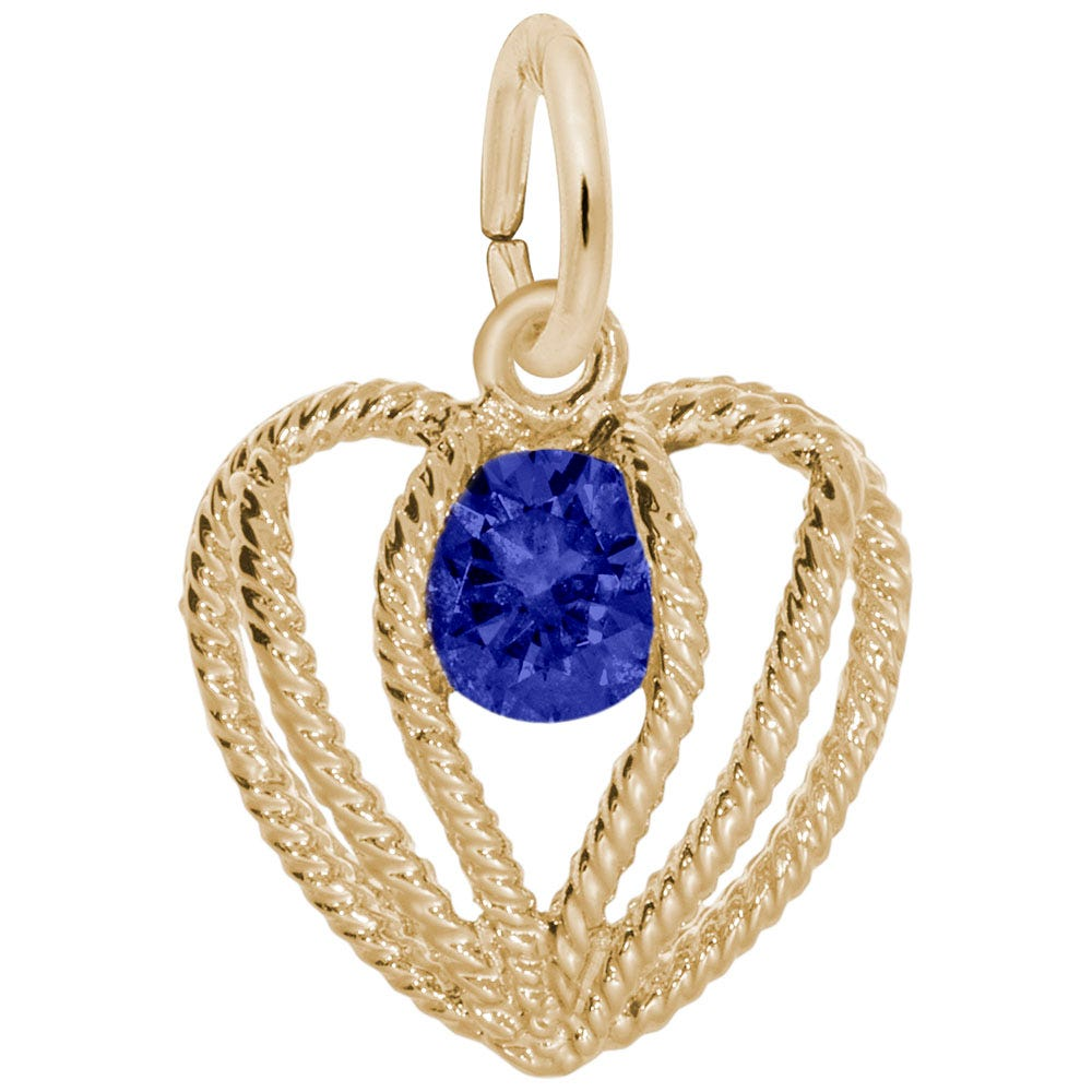 September Birthstone Held in Love Heart Charm in 10k Yellow Gold