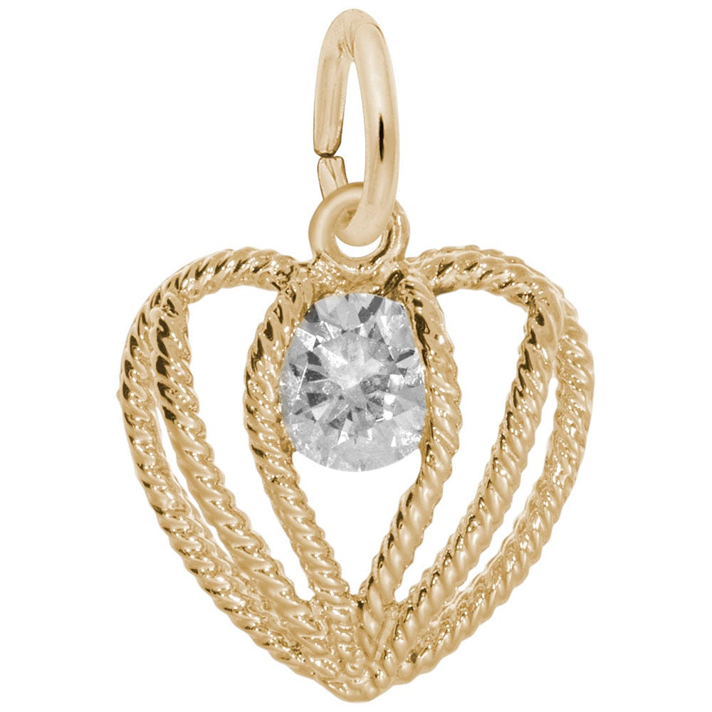 April Birthstone Held in Love Heart Charm in 14k Yellow Gold