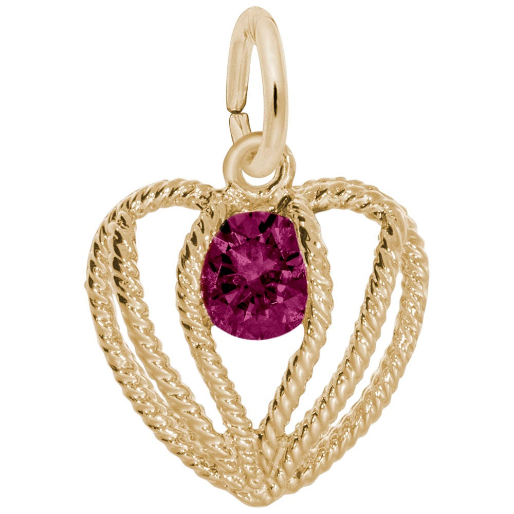 July Birthstone Held in Love Heart Charm in 14k Yellow Gold