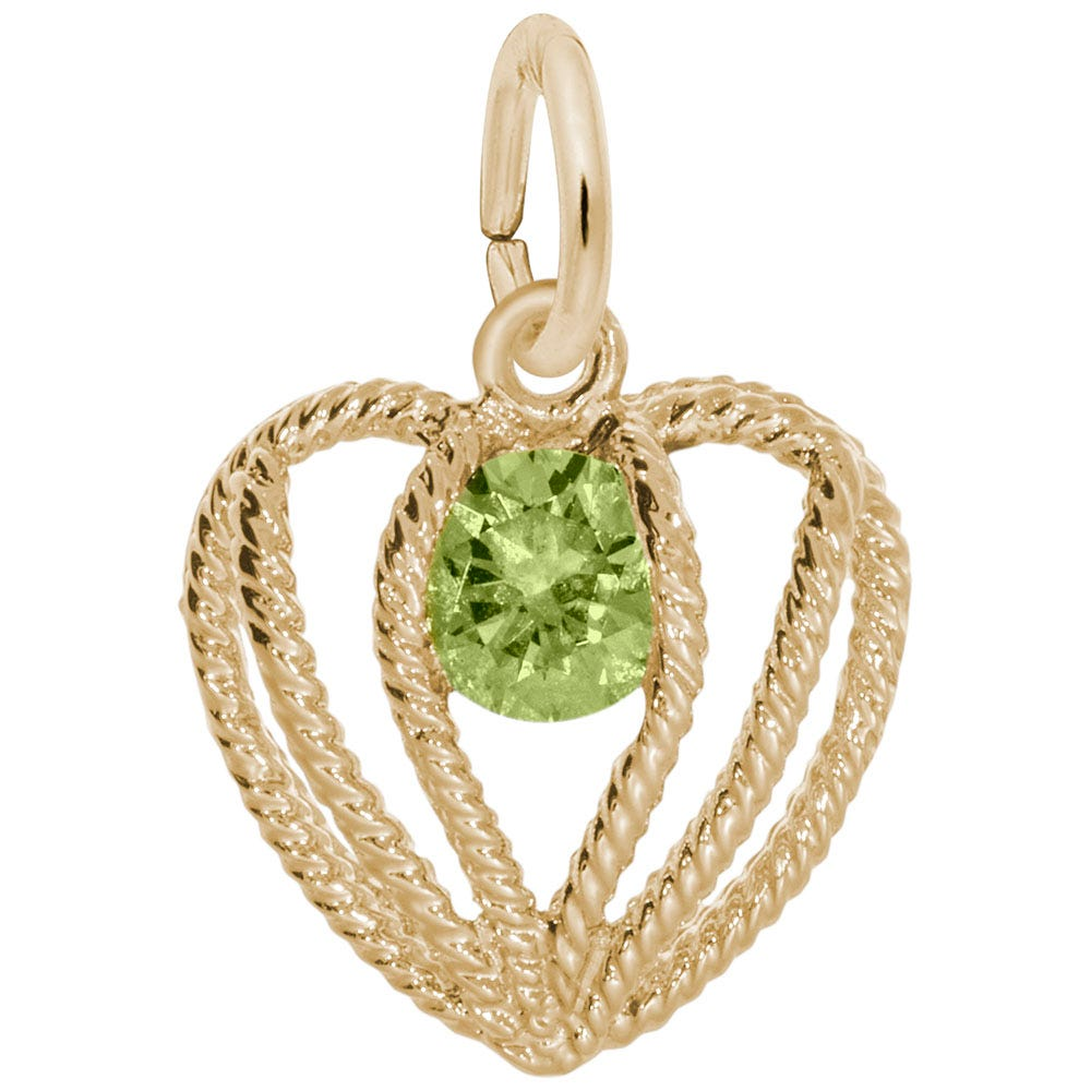 AugustBirthstone Held in Love Heart Charm in 14k Yellow Gold