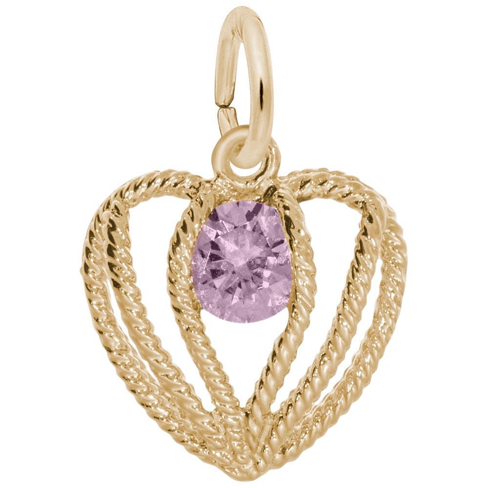 October Birthstone Held in Love Heart Charm in 14k Yellow Gold