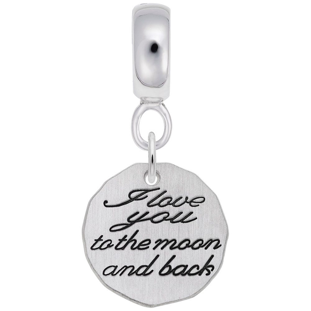 Love You To The Moon Charm in Sterling Silver