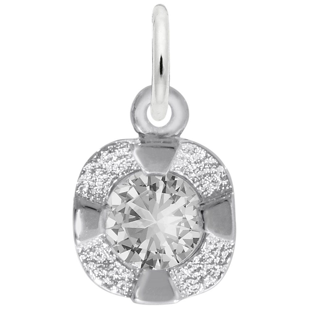 April Birthstone Petite Charm in Sterling Silver