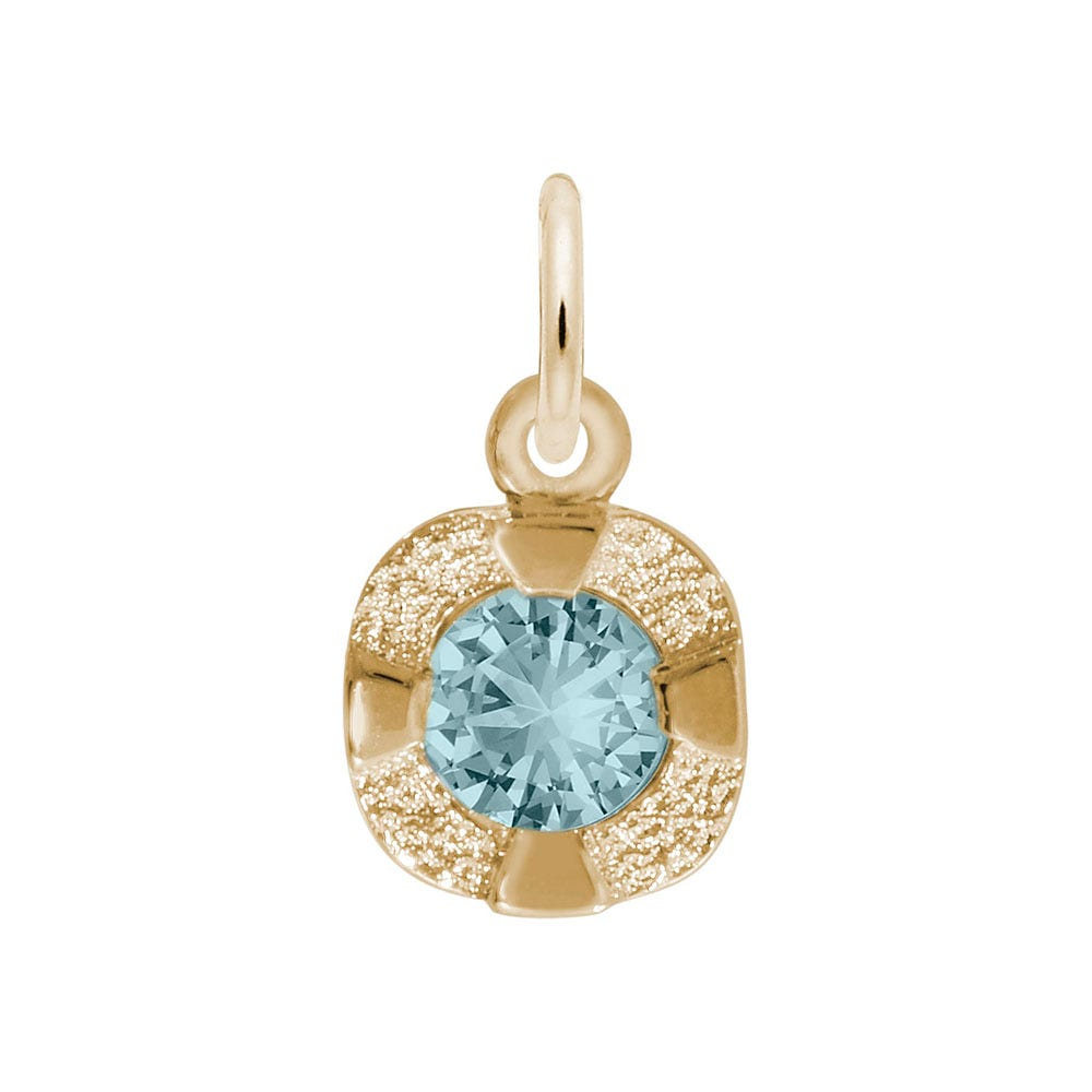 March Birthstone Petite Charm in Sterling Silver/ Gold Plated
