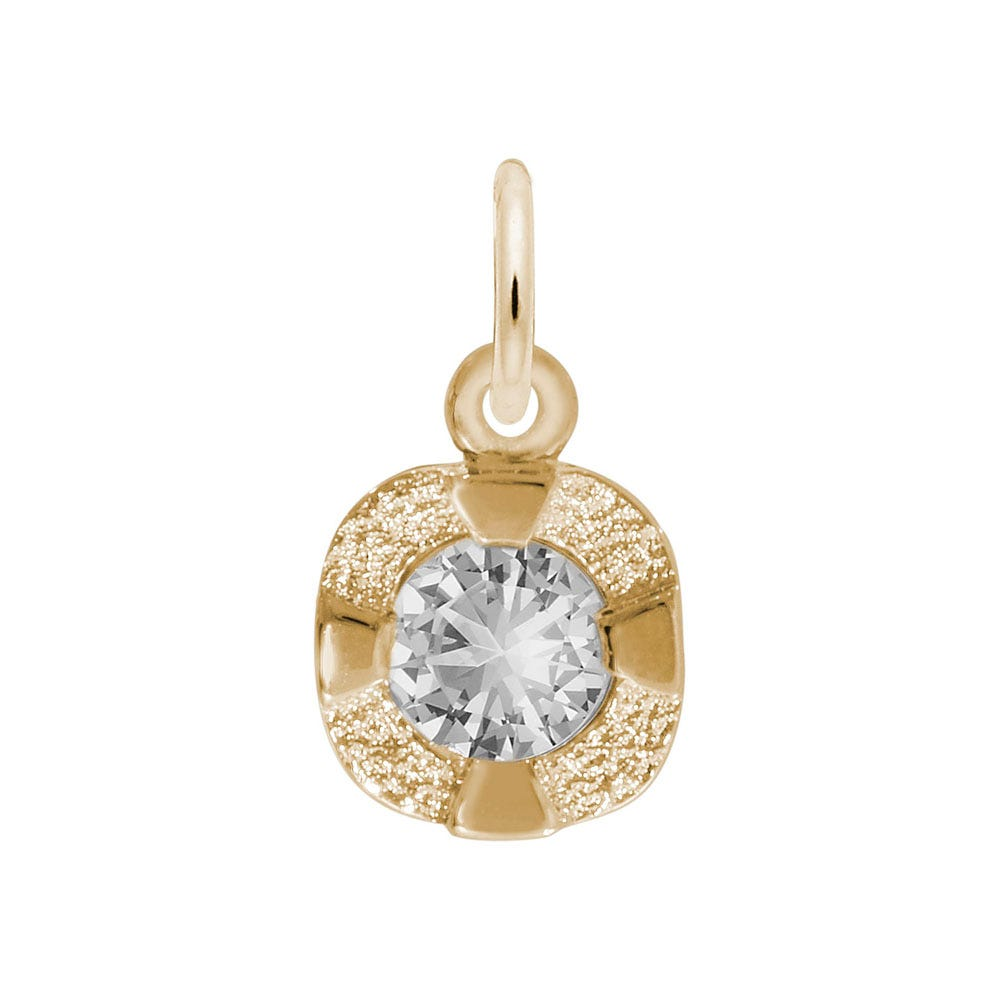 April Birthstone Petite Charm in Sterling Silver/ Gold Plated