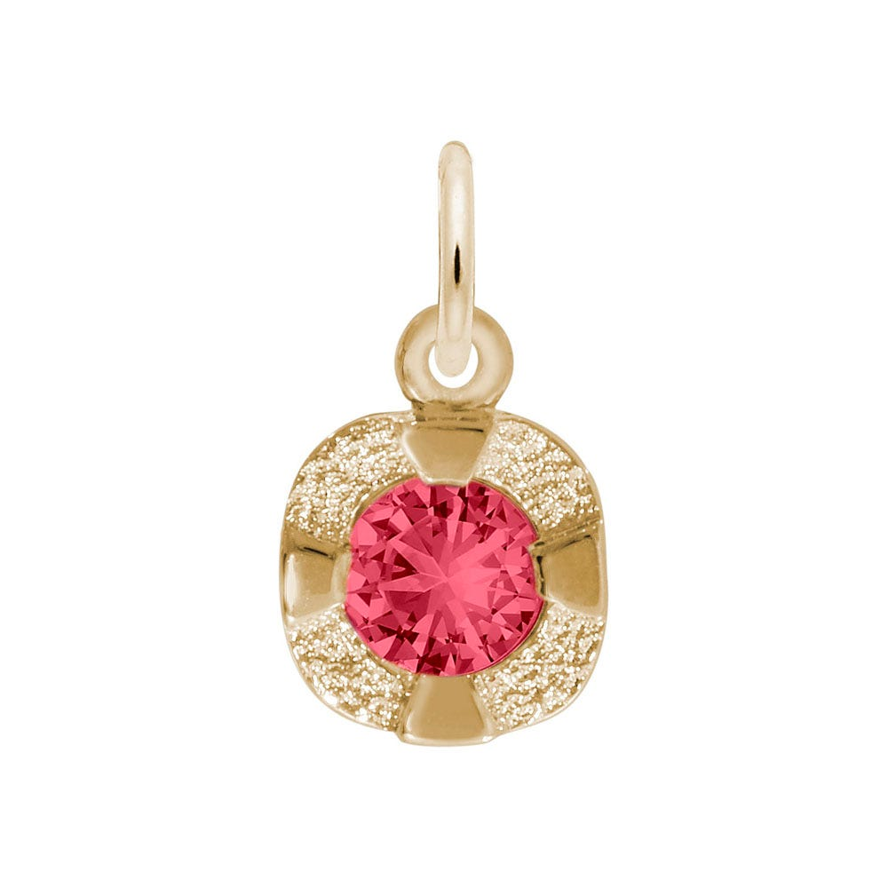 July Birthstone Petite Charm in Sterling Silver/ Gold Plated