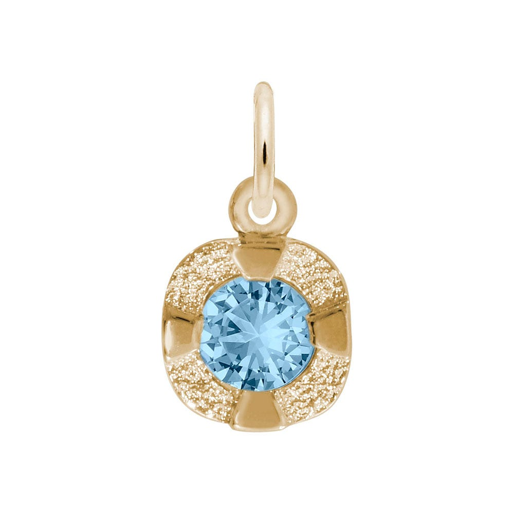 December Birthstone Petite Charm in Sterling Silver/ Gold Plated