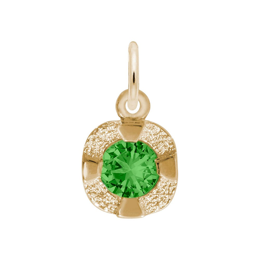 May Birthstone Petite Charm in 14k Yellow Gold
