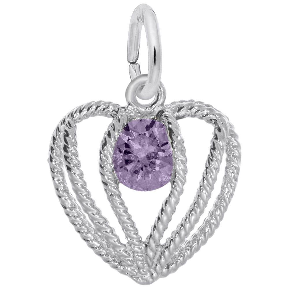 February Birthstone Held in Love Heart Charm in Sterling Silver