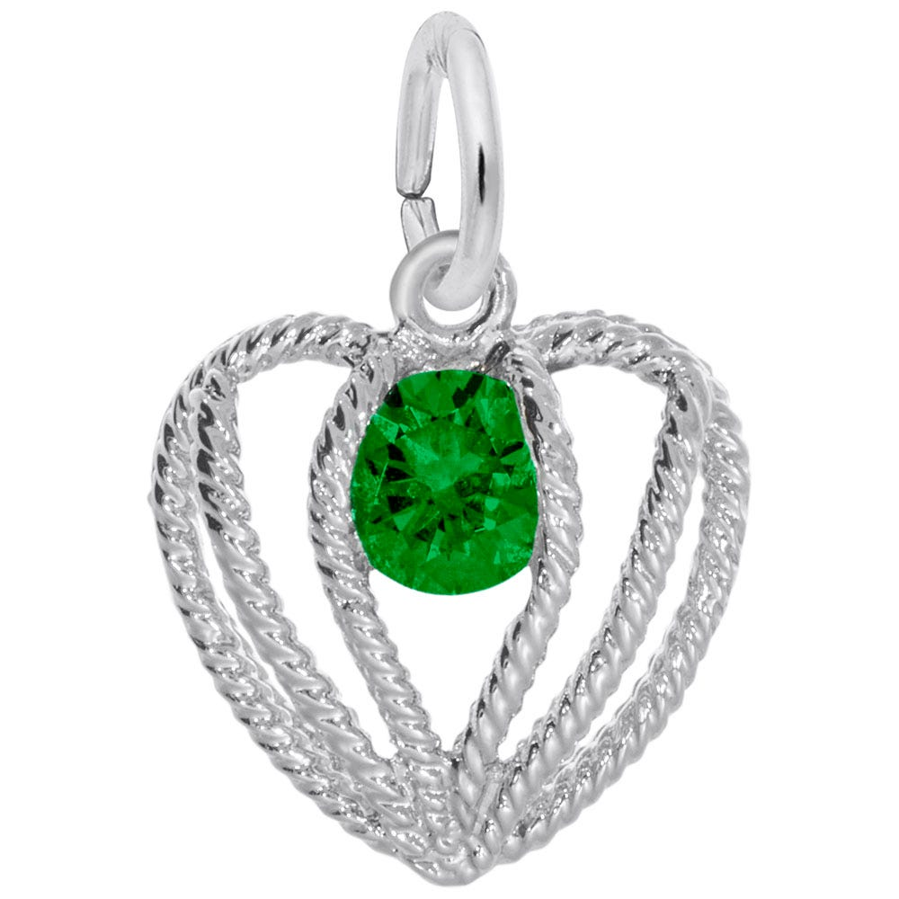 May Birthstone Held in Love Heart Charm in 14k White Gold