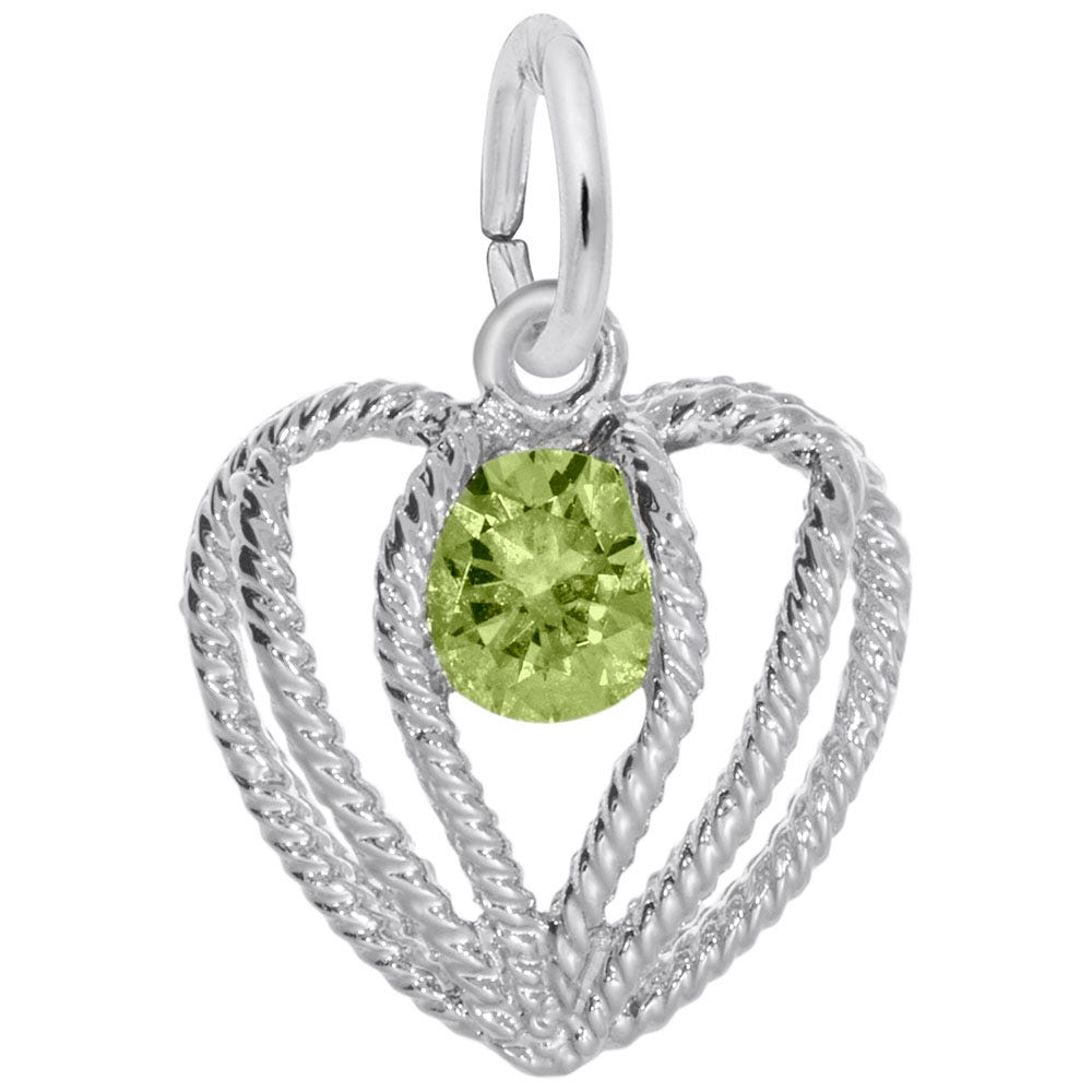 August Birthstone Held in Love Heart Charm in 14k White Gold