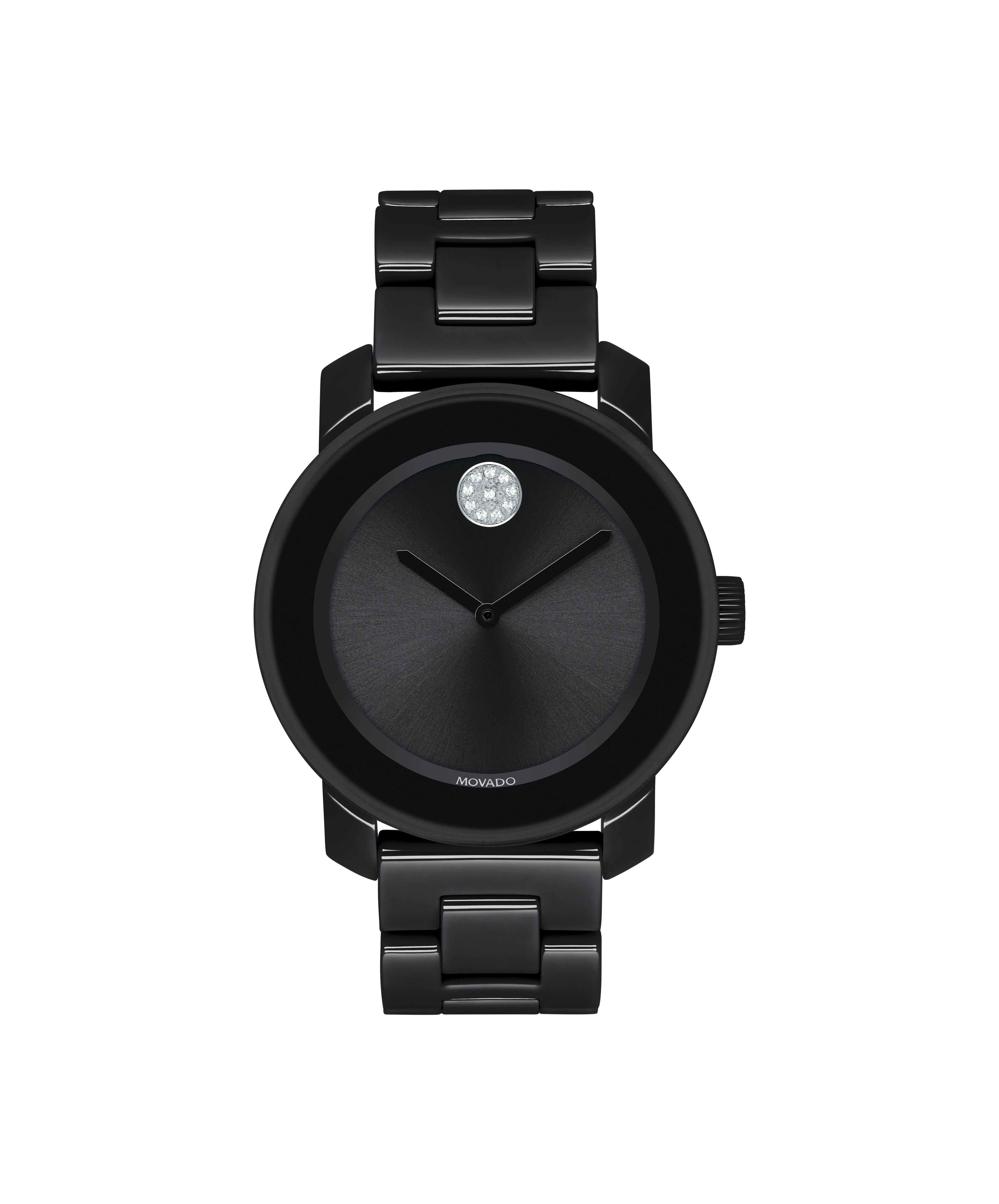 Movado BOLD Ladies' Black Ceramic Crystal Dial Bracelet Watch 3600535