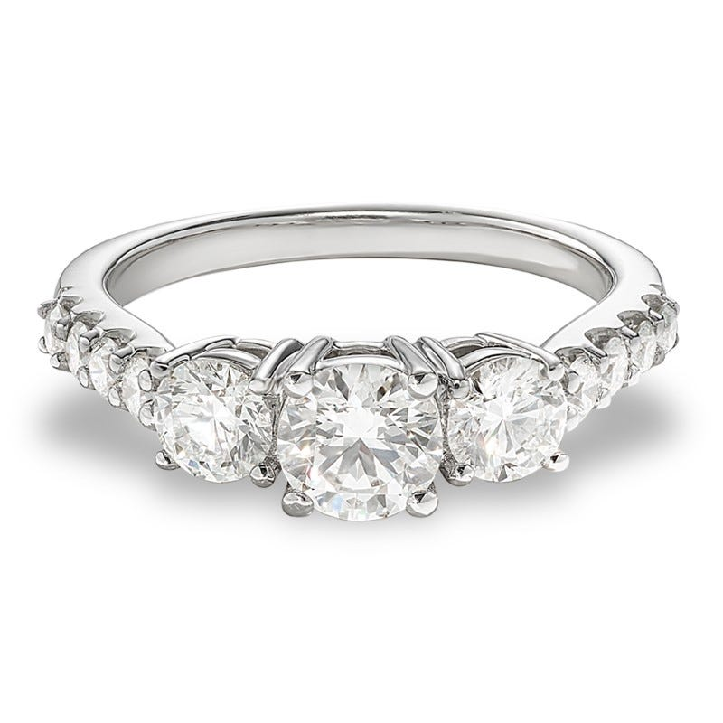 Lyndie. Lab-Crafted Diamond 3-Stone Engagement Ring in 14k White Gold