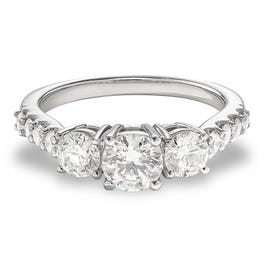 Lyndie. Lab Grown 1 1/2ct. Diamond 3-Stone Engagement Ring in 14k White Gold