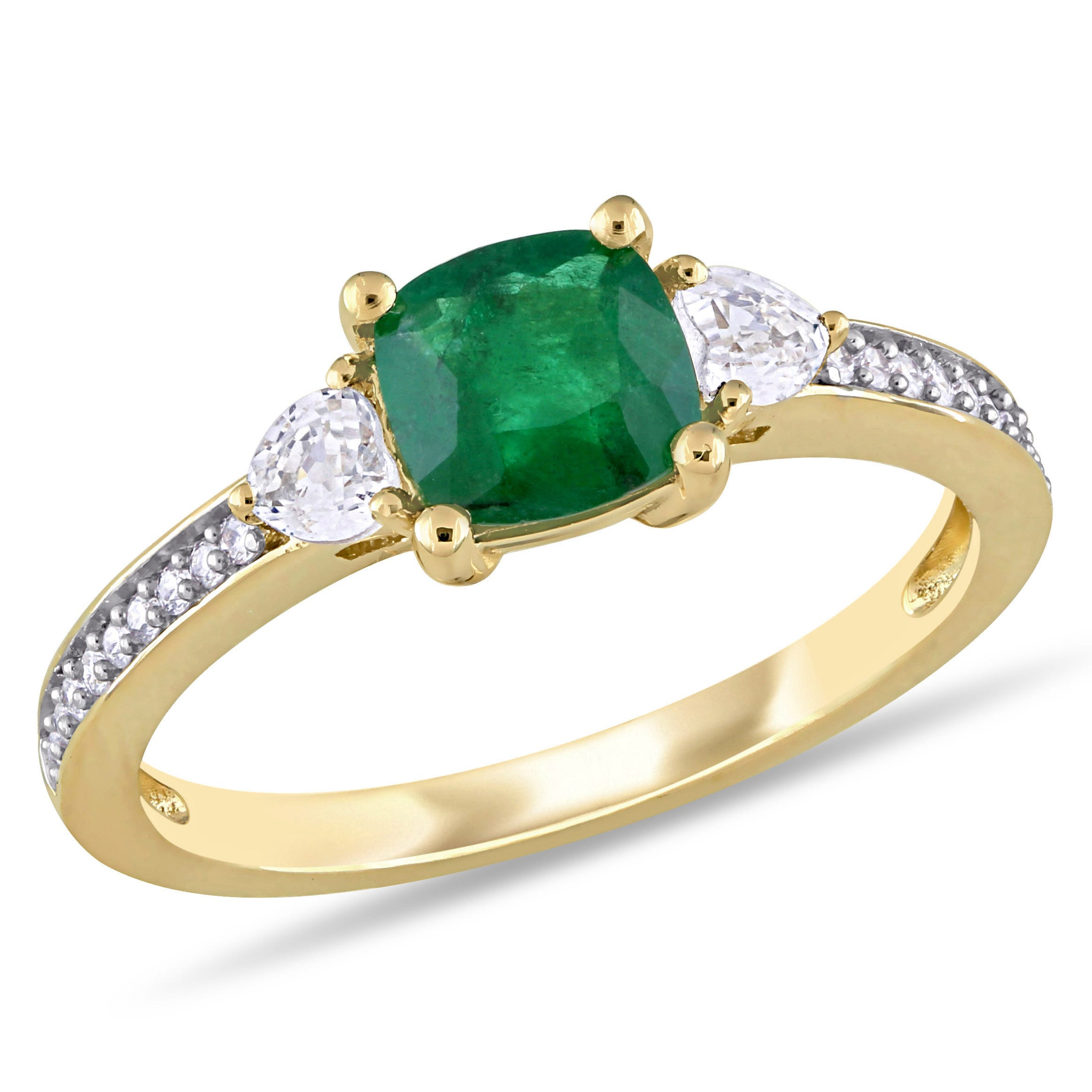 Cushion-Cut Emerald & White Sapphire Diamond Ring in 14k Yellow Gold