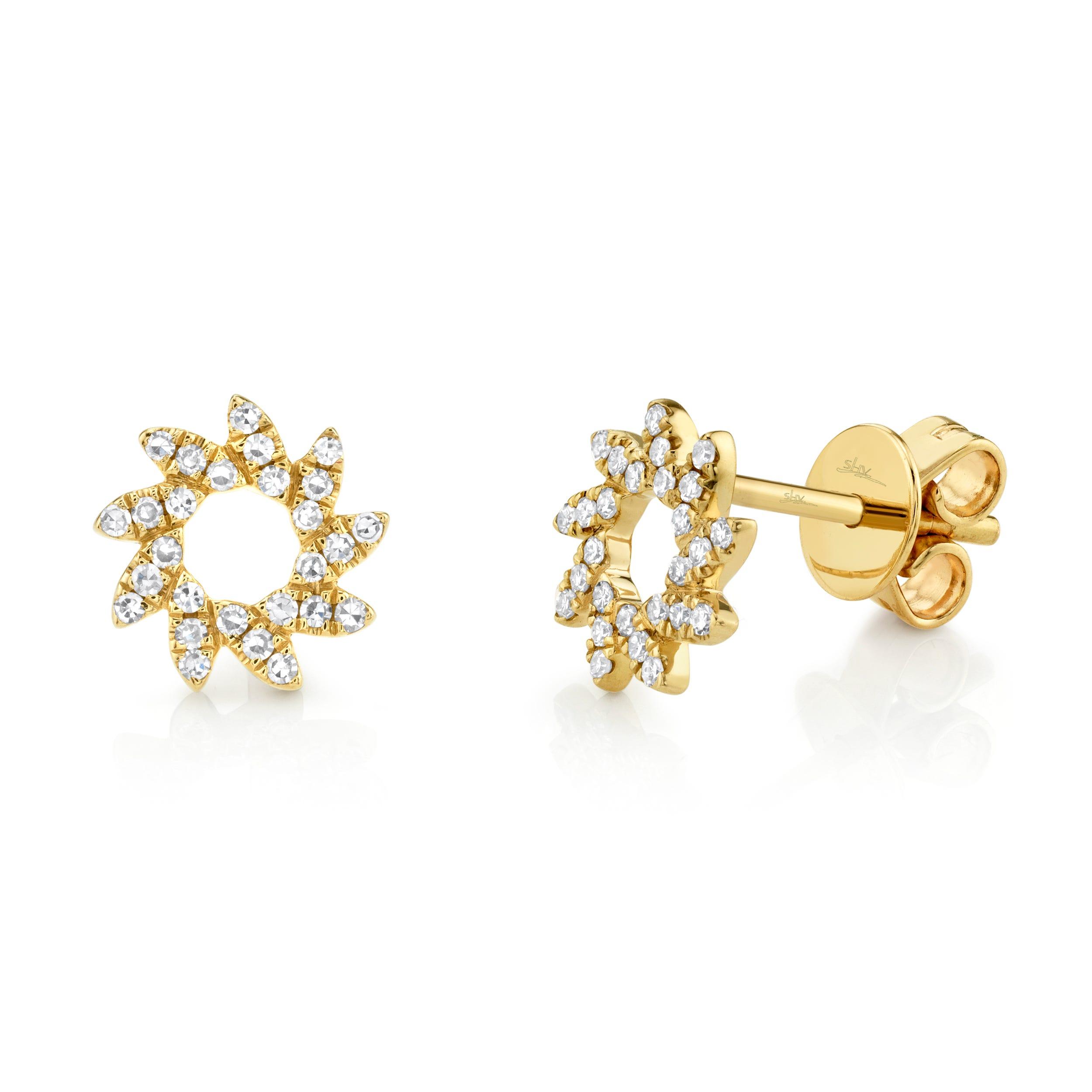 Shy Creation Sunburst Stud Earrings in 14k Yellow Gold