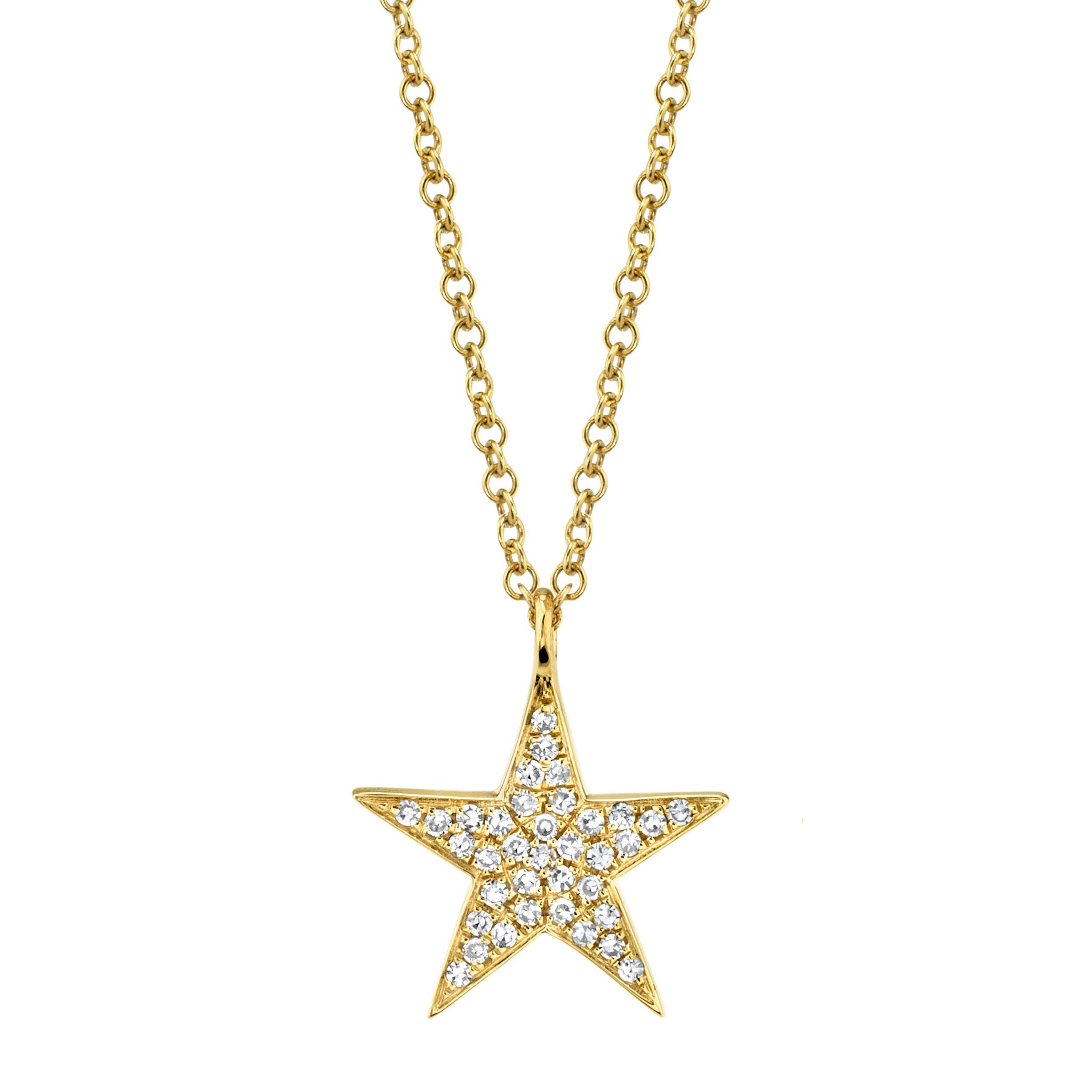 Shy Creation Diamond Star Pendant in 14k Yellow Gold