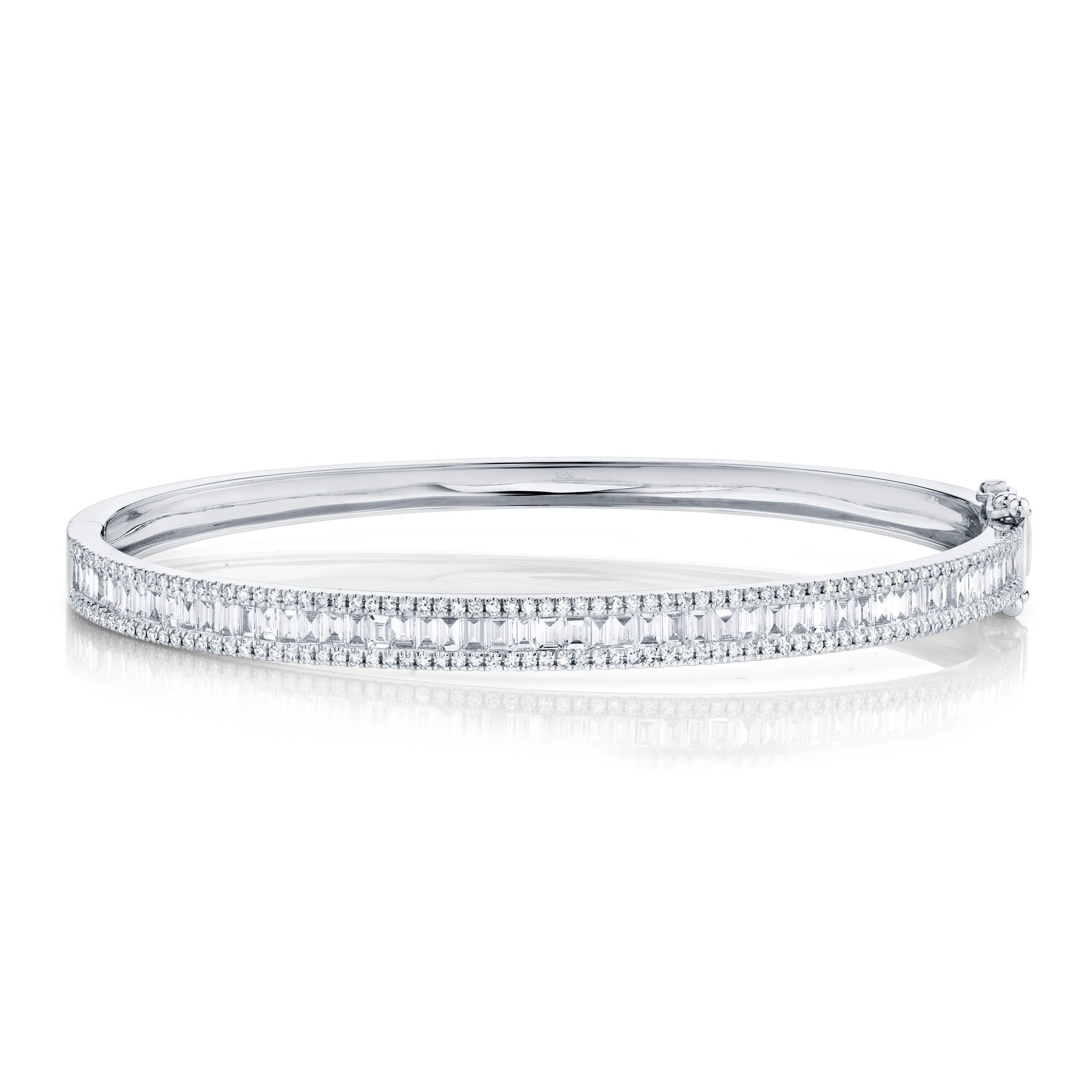 Shy Creation Diamond Baguette Bangle Bracelet in 14k White Gold  SC55004920ZS