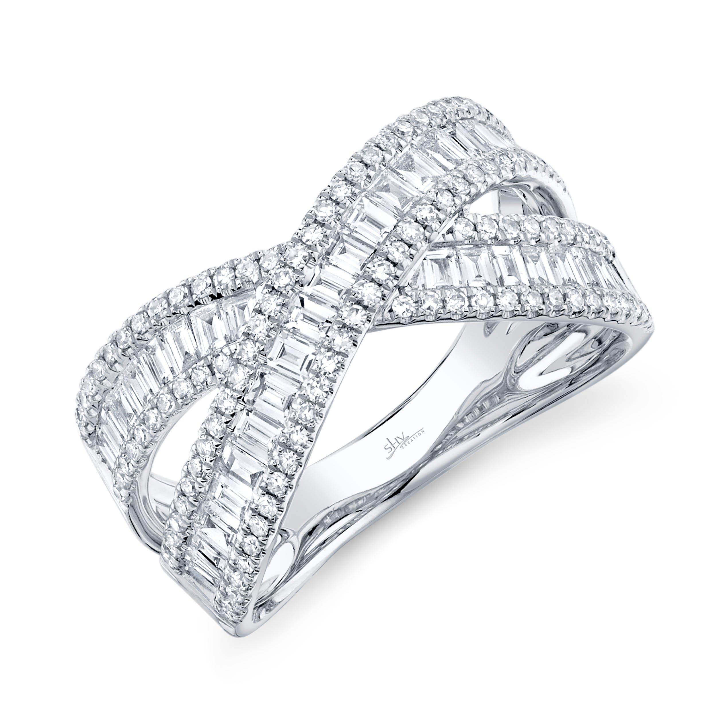 Shy Creation Diamond Baguette Ring in 14k White Gold  SC55007831