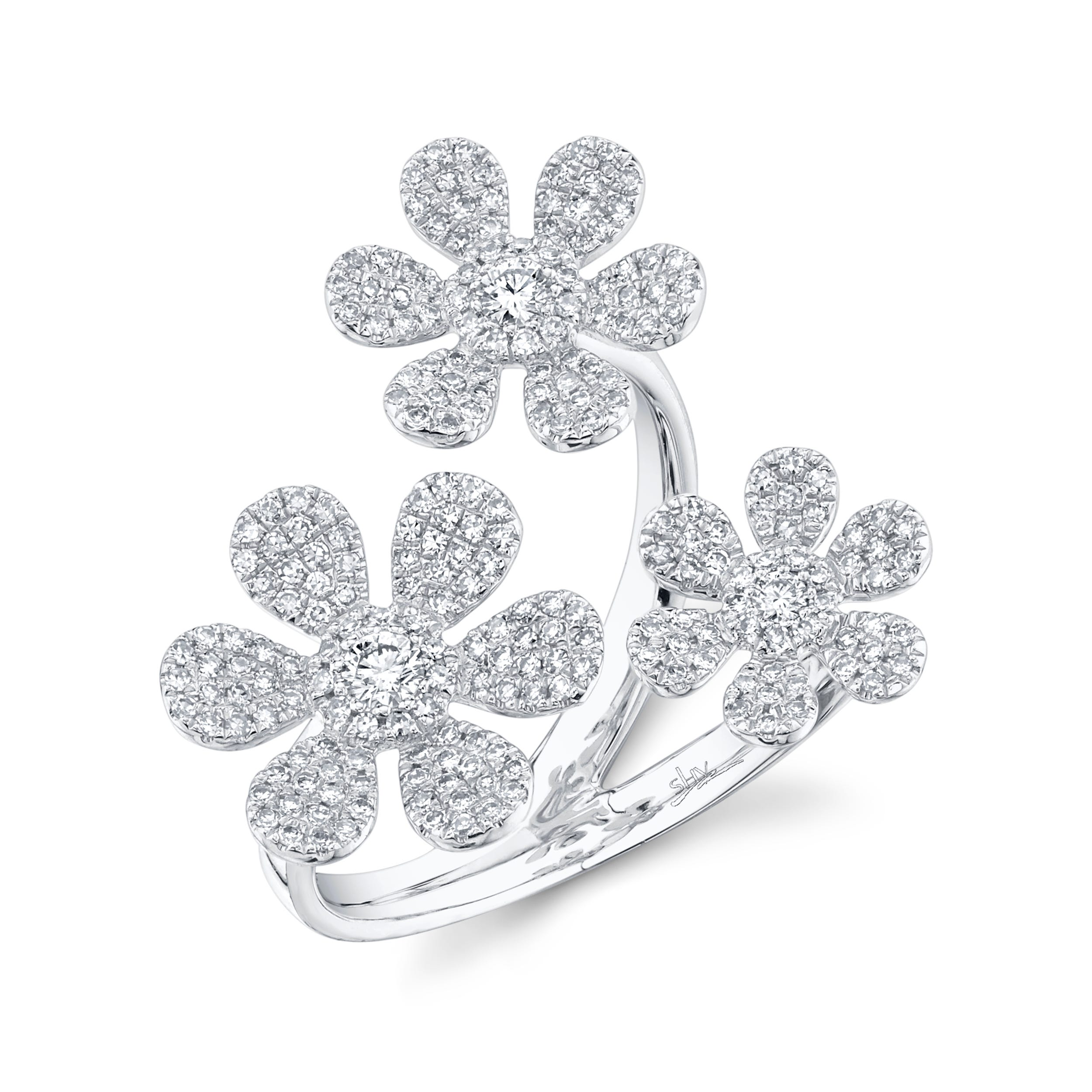 Shy Creation Diamond Flower Ring in 14k White Gold