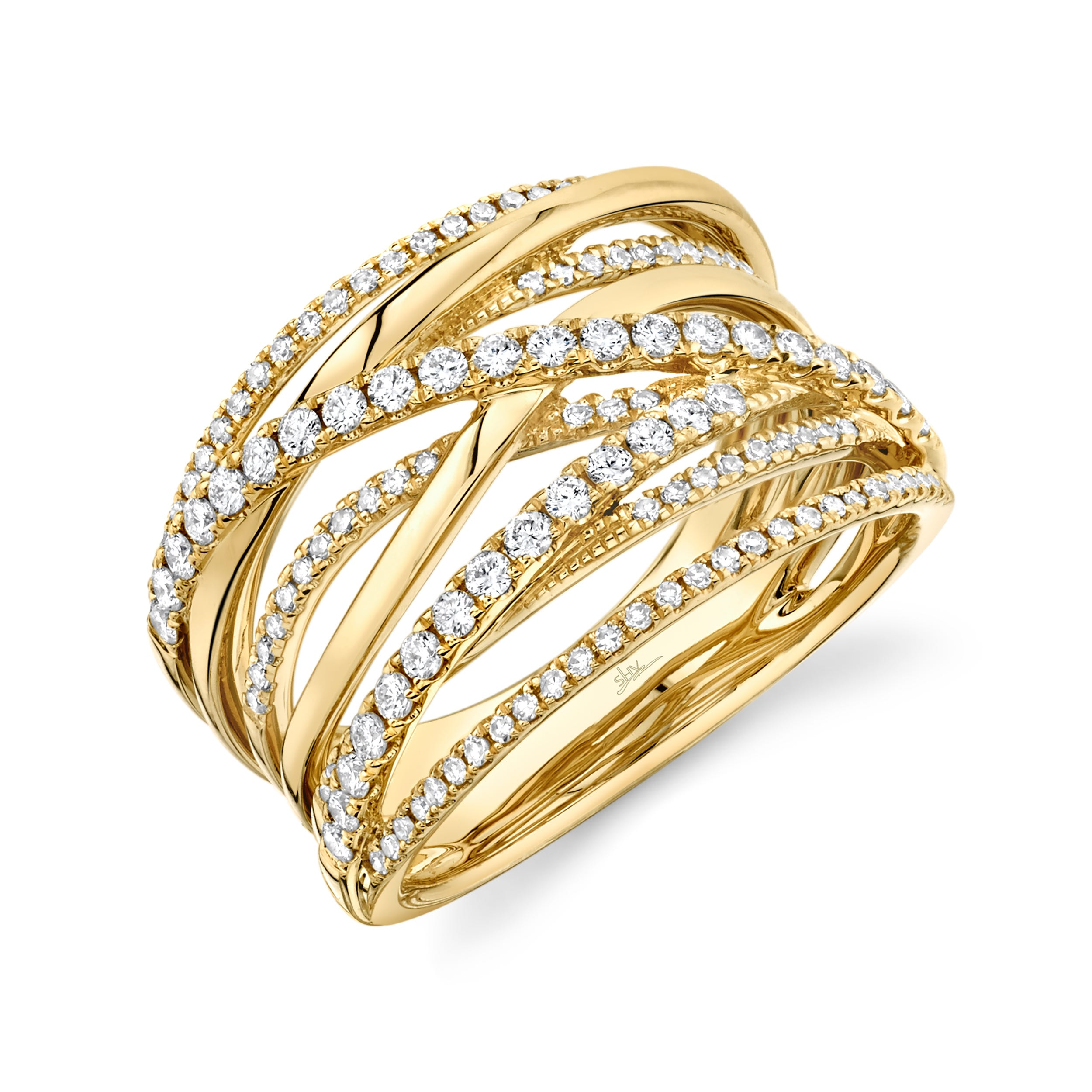 Shy Creation Diamond Crossover Ring in 14k Yellow Gold  SC55005591
