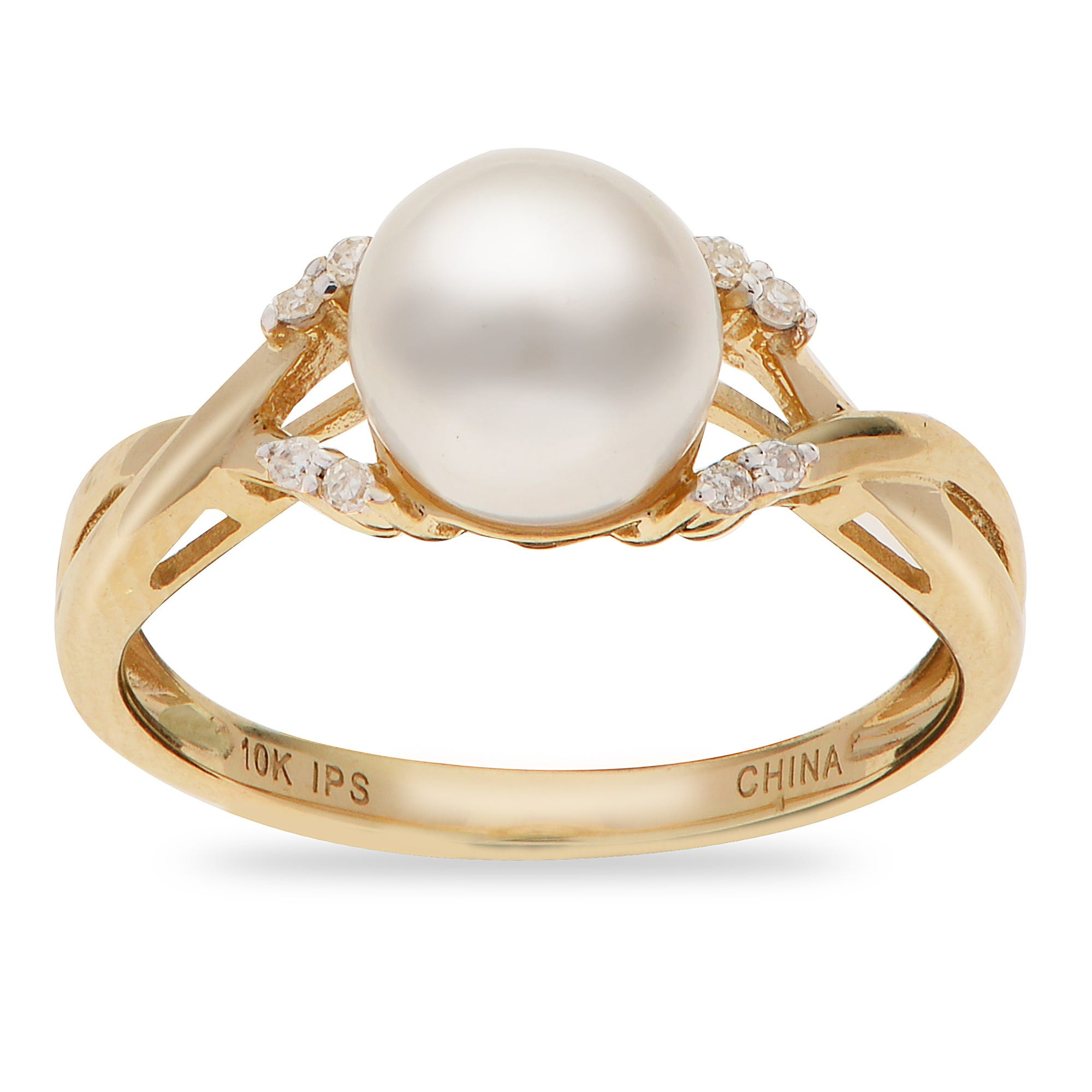 Round Imperial Pearl 7.5-8mm Pearl Ring in 10k Yellow Gold