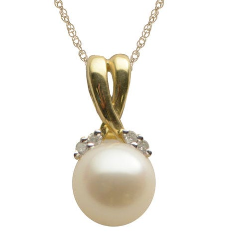 Round Imperial Pearl 7.5-8mm Pearl Pendant in 10k Yellow Gold