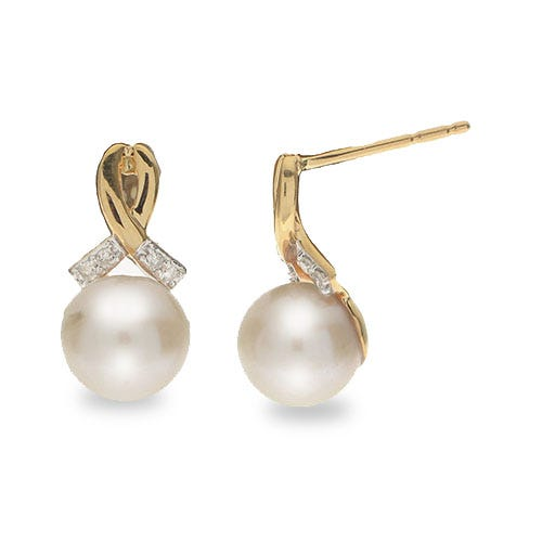 Round Imperial Pearl 7.5-8mm Pearl Drop Earrings in 10k Yellow Gold