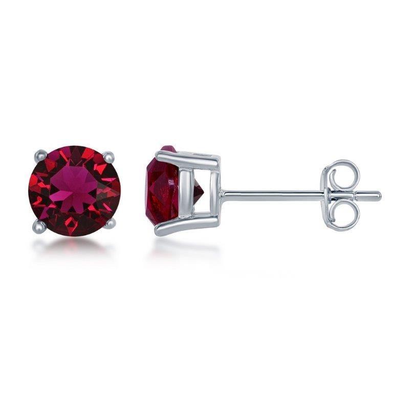July Swarovski Crystal 6mm Earrings in Sterling Silver