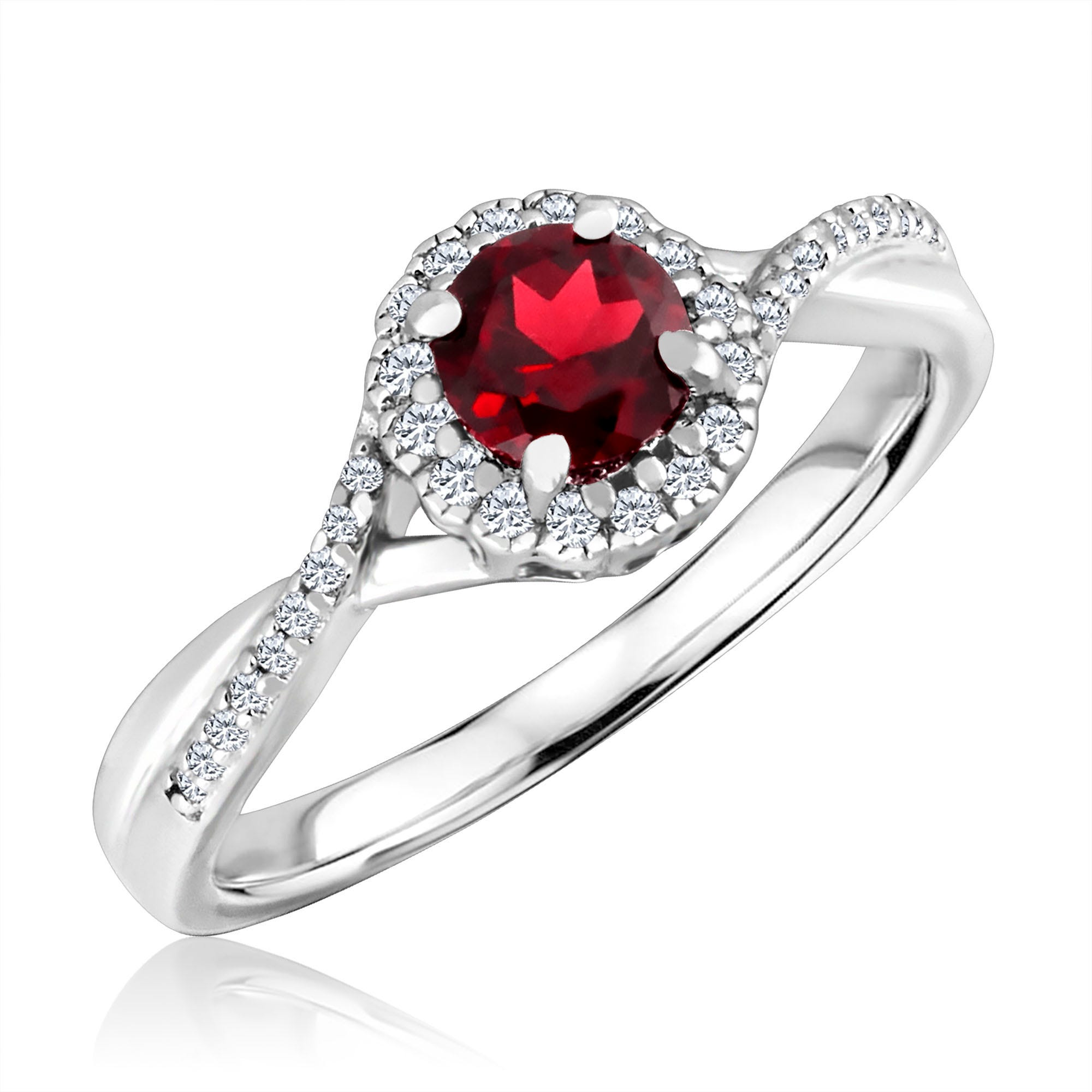 Round-Cut Garnet & Diamond Infinity Ring in Sterling Silver