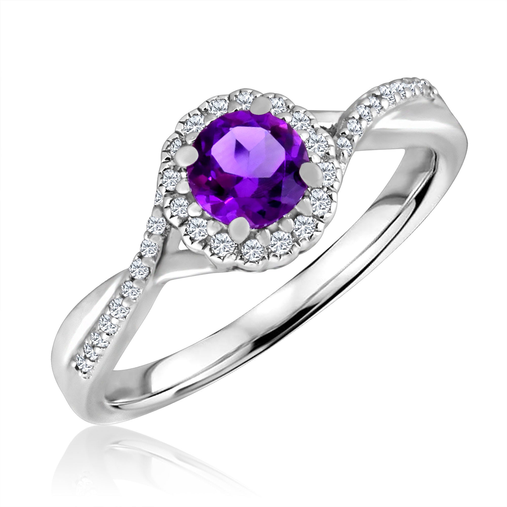Round-Cut Amethyst & Diamond Infinity Ring in Sterling Silver