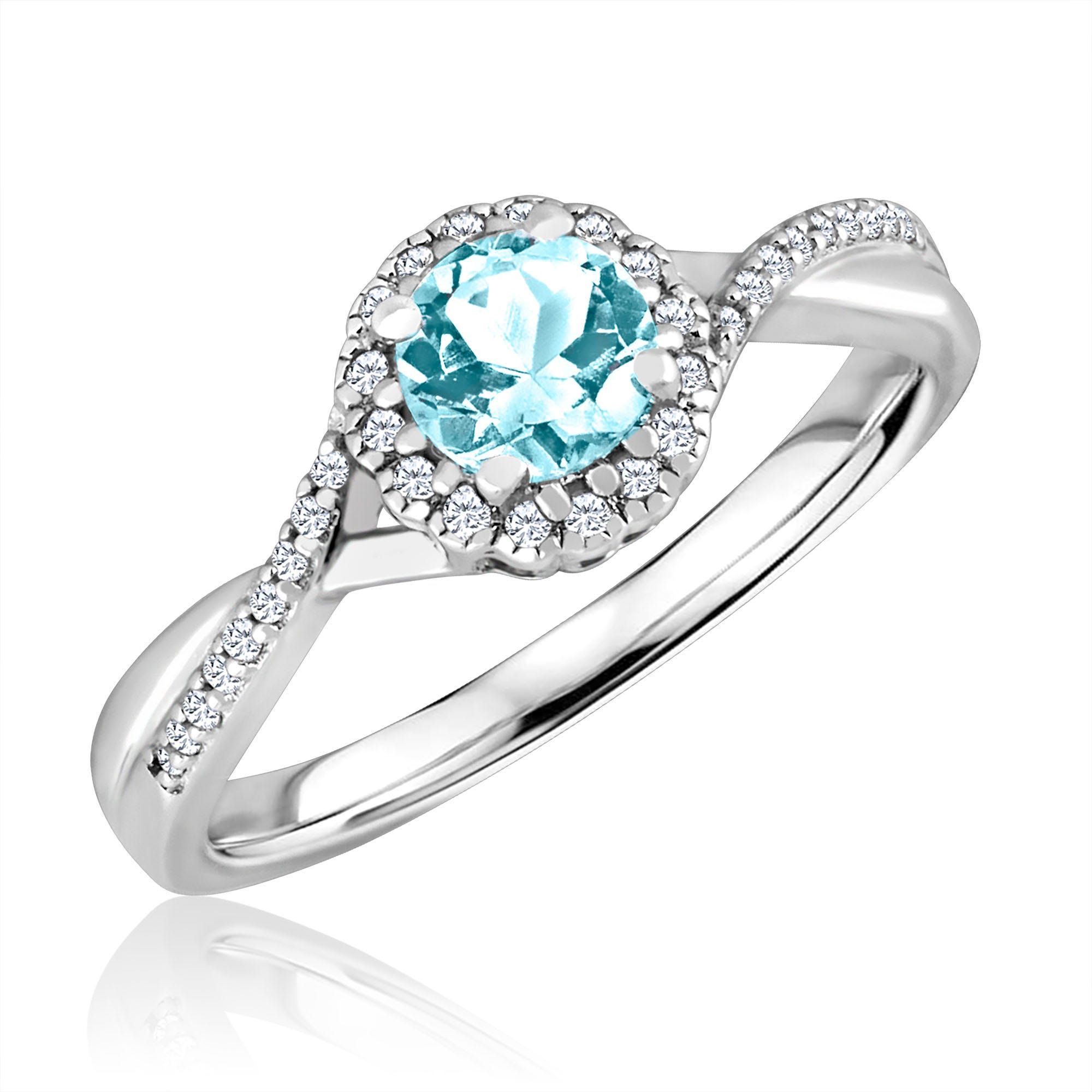Round-Cut Aquamarine & Diamond Infinity Ring in Sterling Silver
