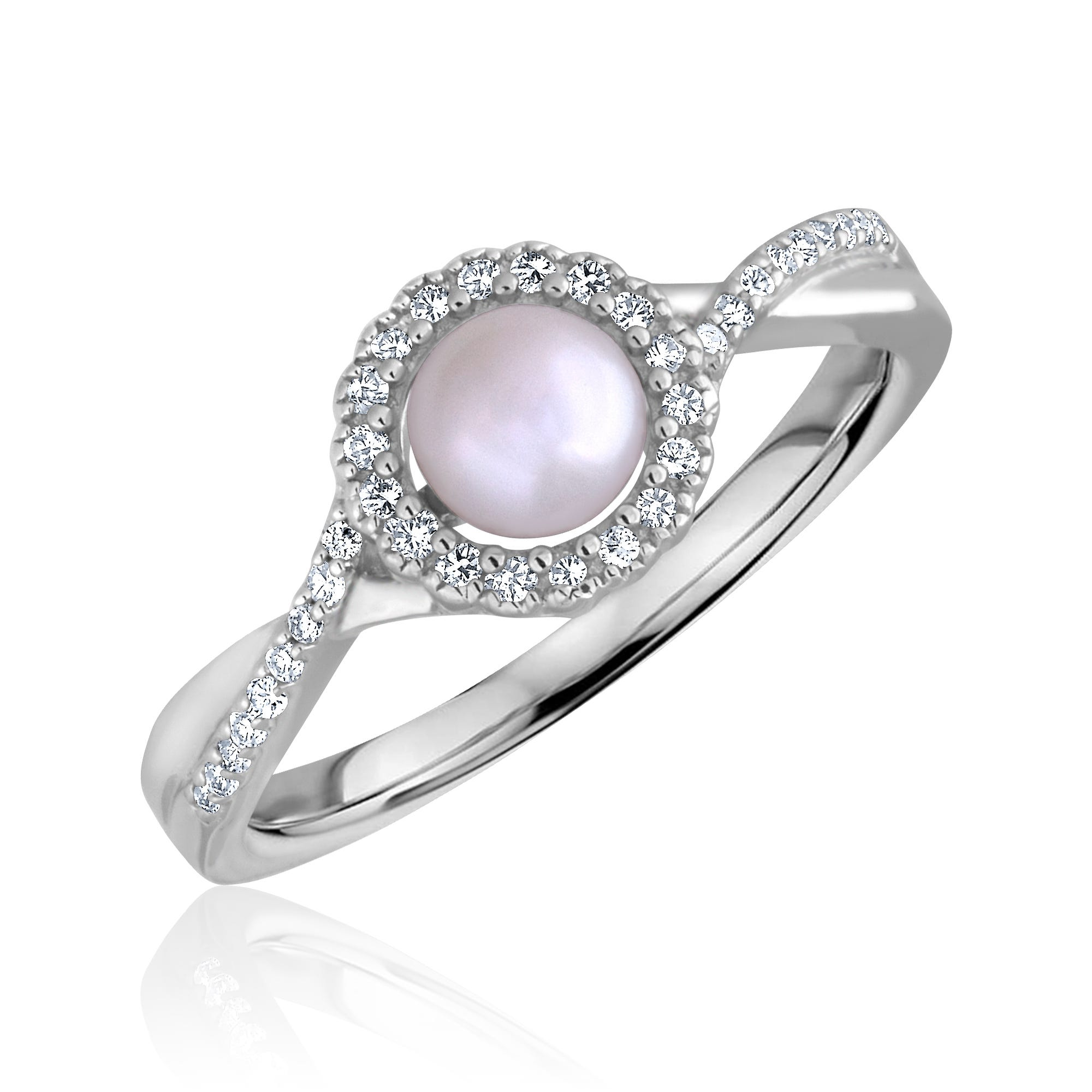 Round-Cut Pearl & Diamond Infinity Ring in Sterling Silver