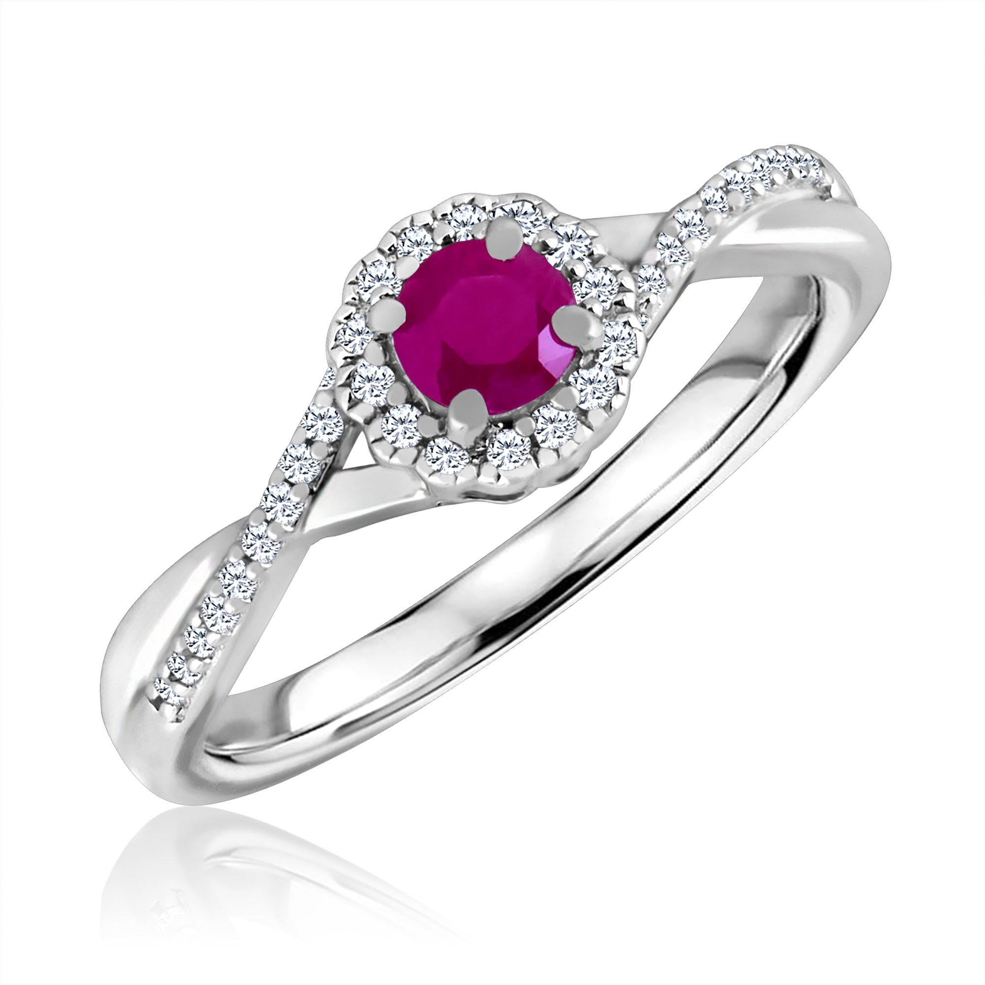 Round-Cut Ruby & Diamond Infinity Ring in Sterling Silver