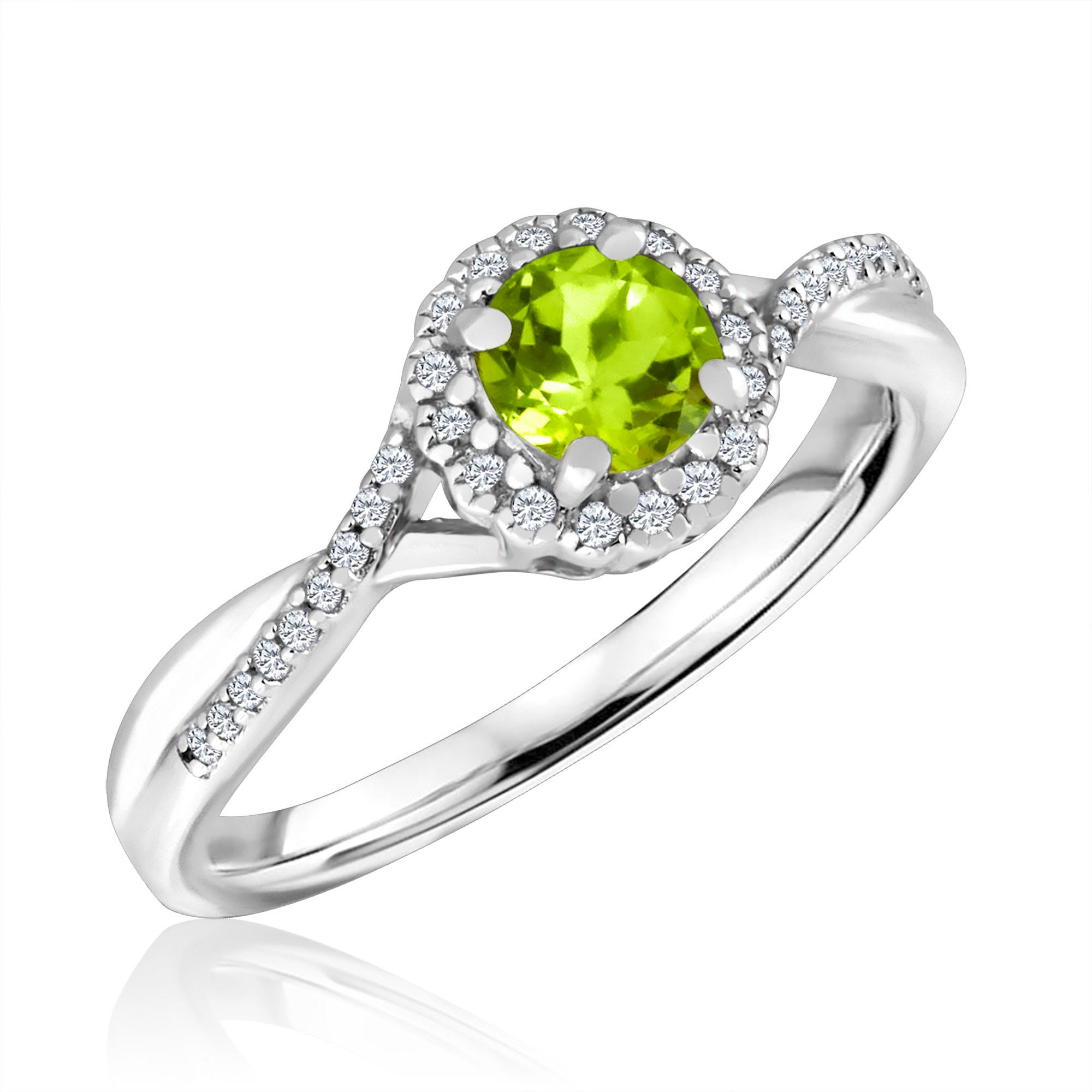 Round-Cut Peridot & Diamond Infinity Ring in Sterling Silver