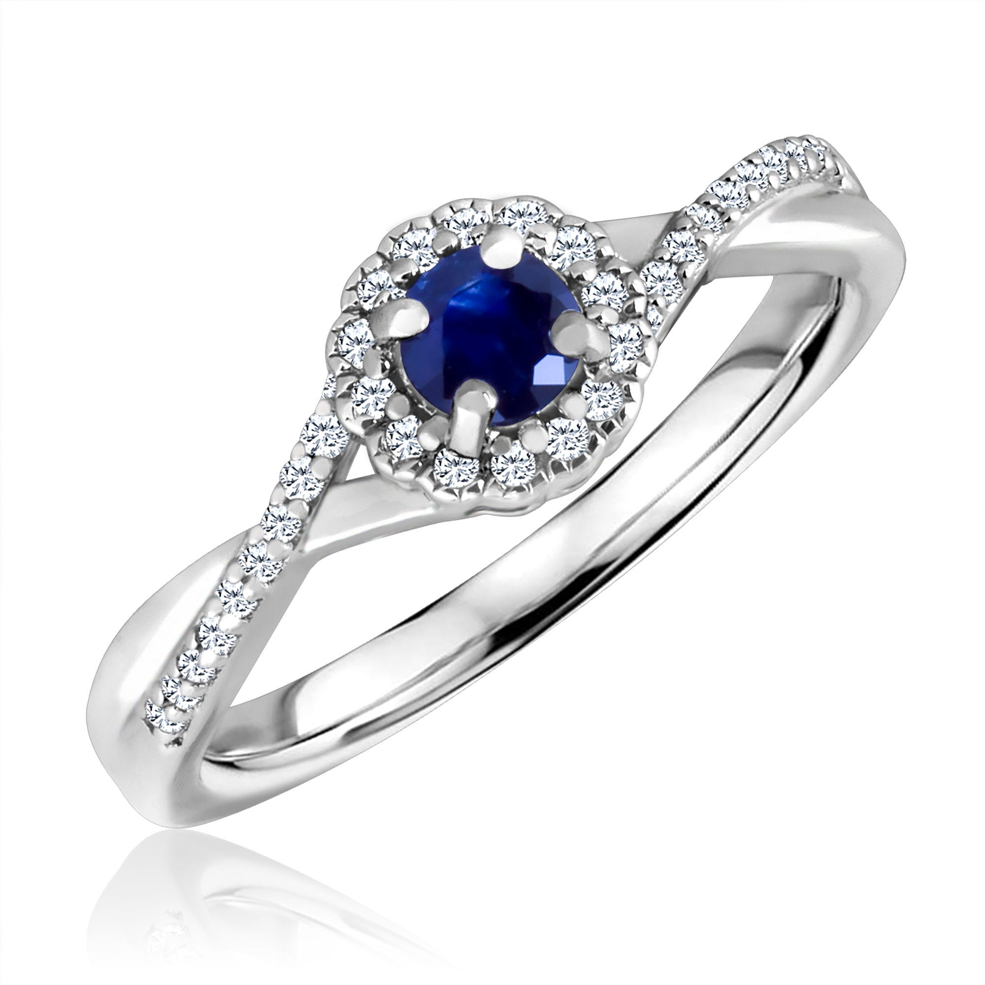 Round-Cut Sapphire & Diamond Infinity Ring in Sterling Silver