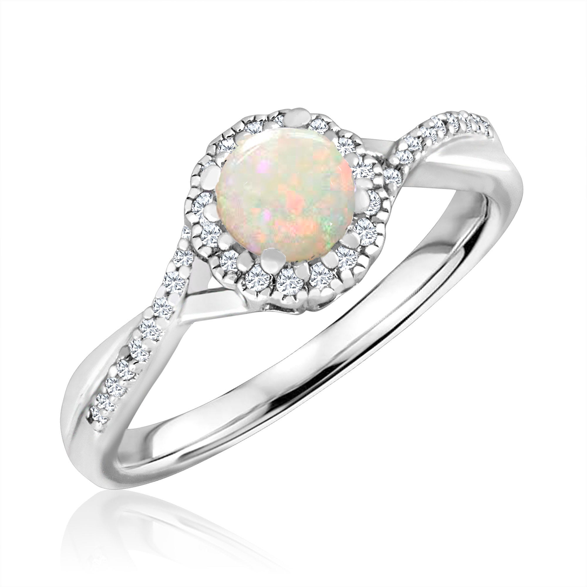 Round-Cut Opal & Diamond Infinity Ring in Sterling Silver