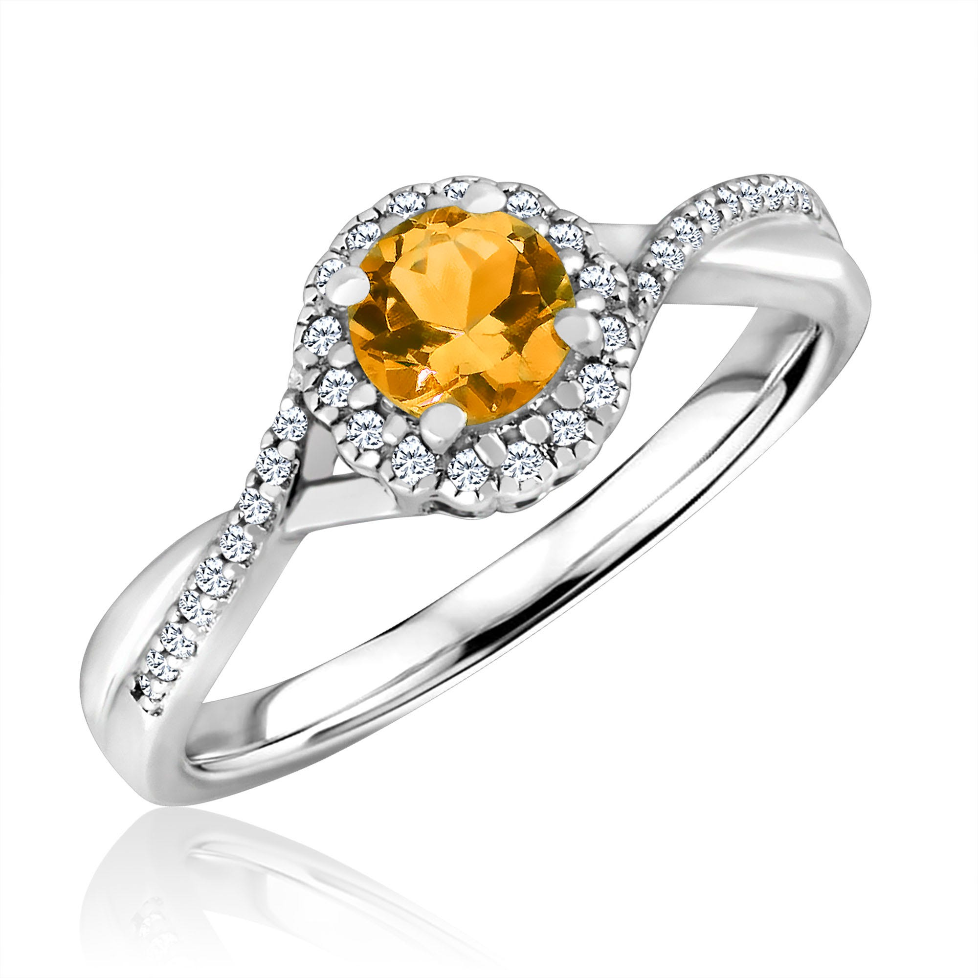 Round-Cut Citrine & Diamond Infinity Ring in Sterling Silver