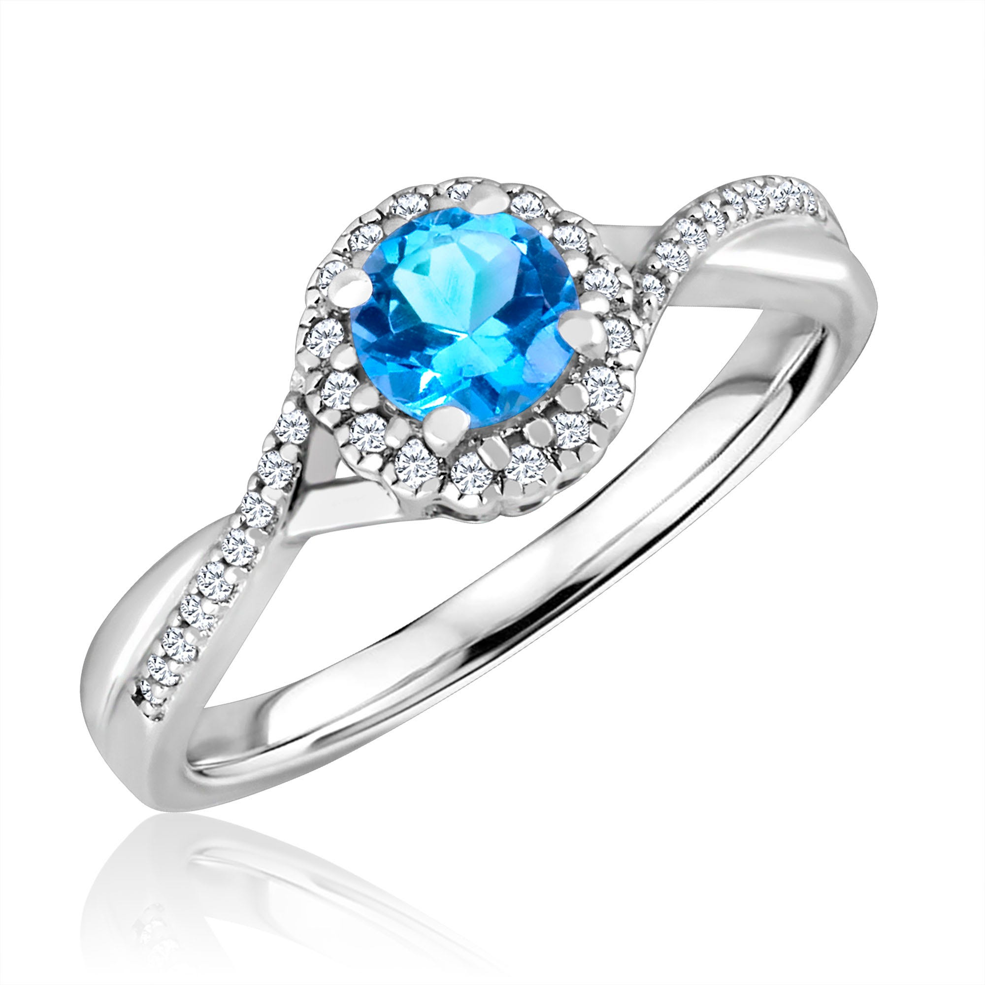 Round-Cut Blue Topaz & Diamond Infinity Ring in Sterling Silver