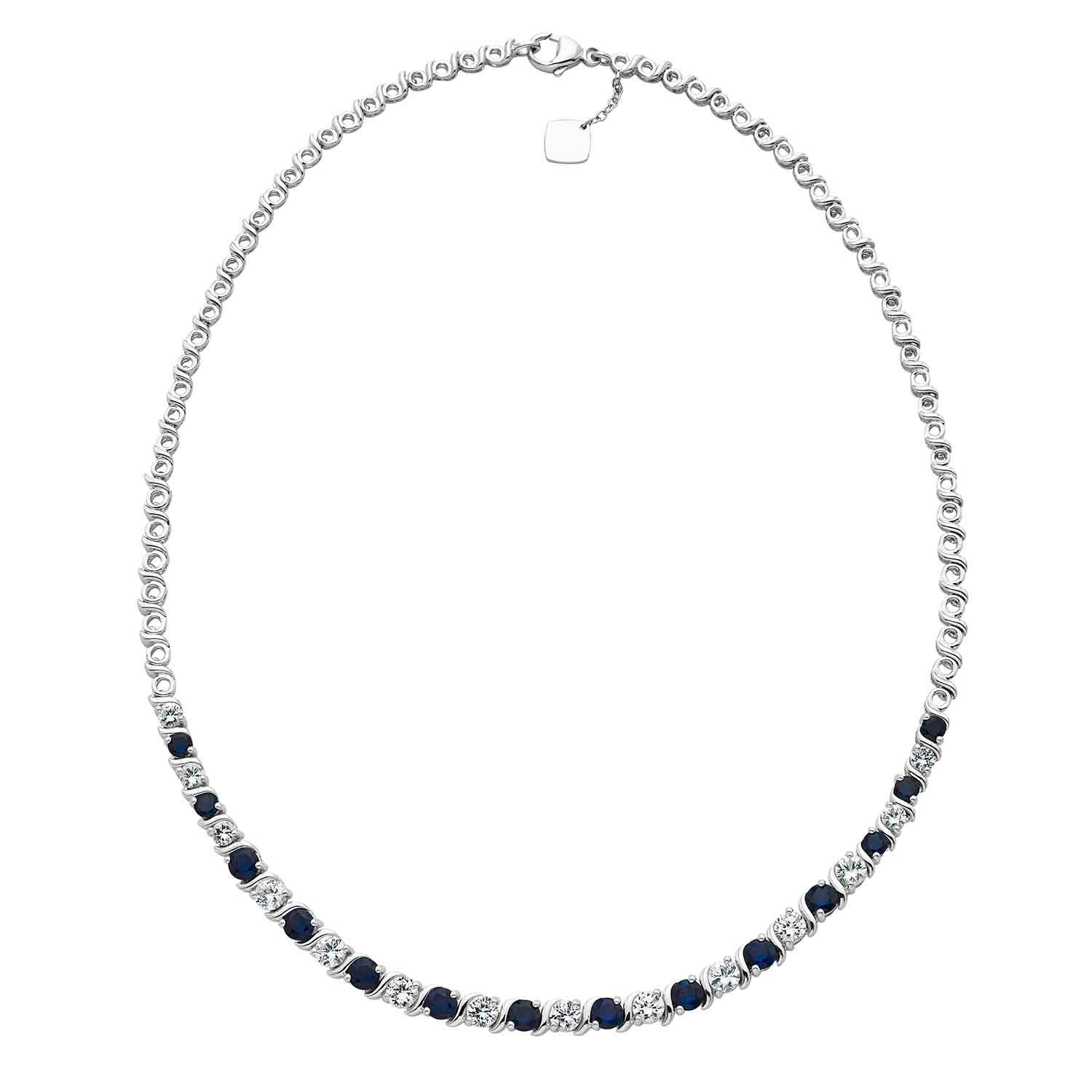 Created Blue & White Sapphire Gemstone Tennis Necklace in Sterling Silver