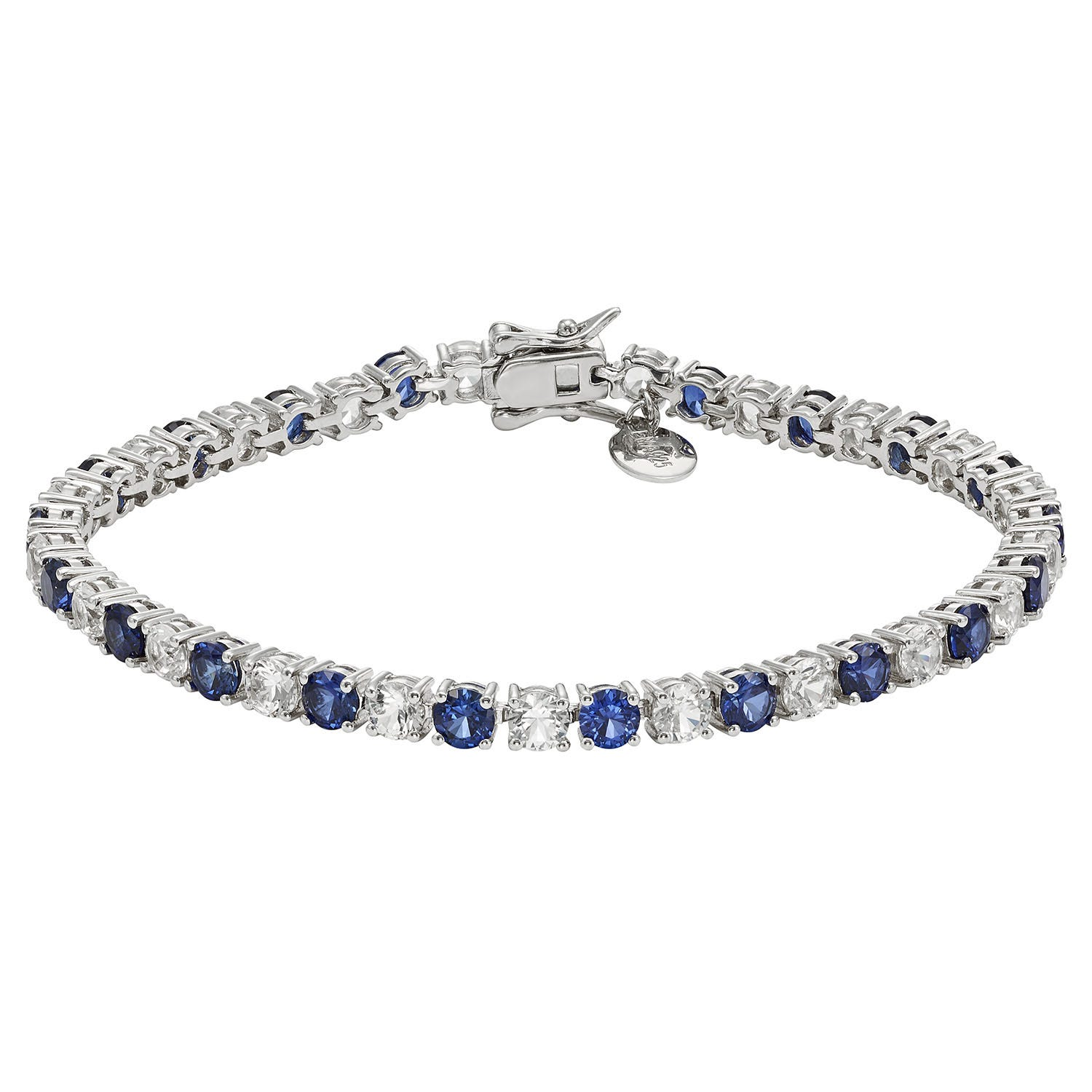 Created White & Blue Sapphire Gemstone Tennis Bracelet in Sterling Silver