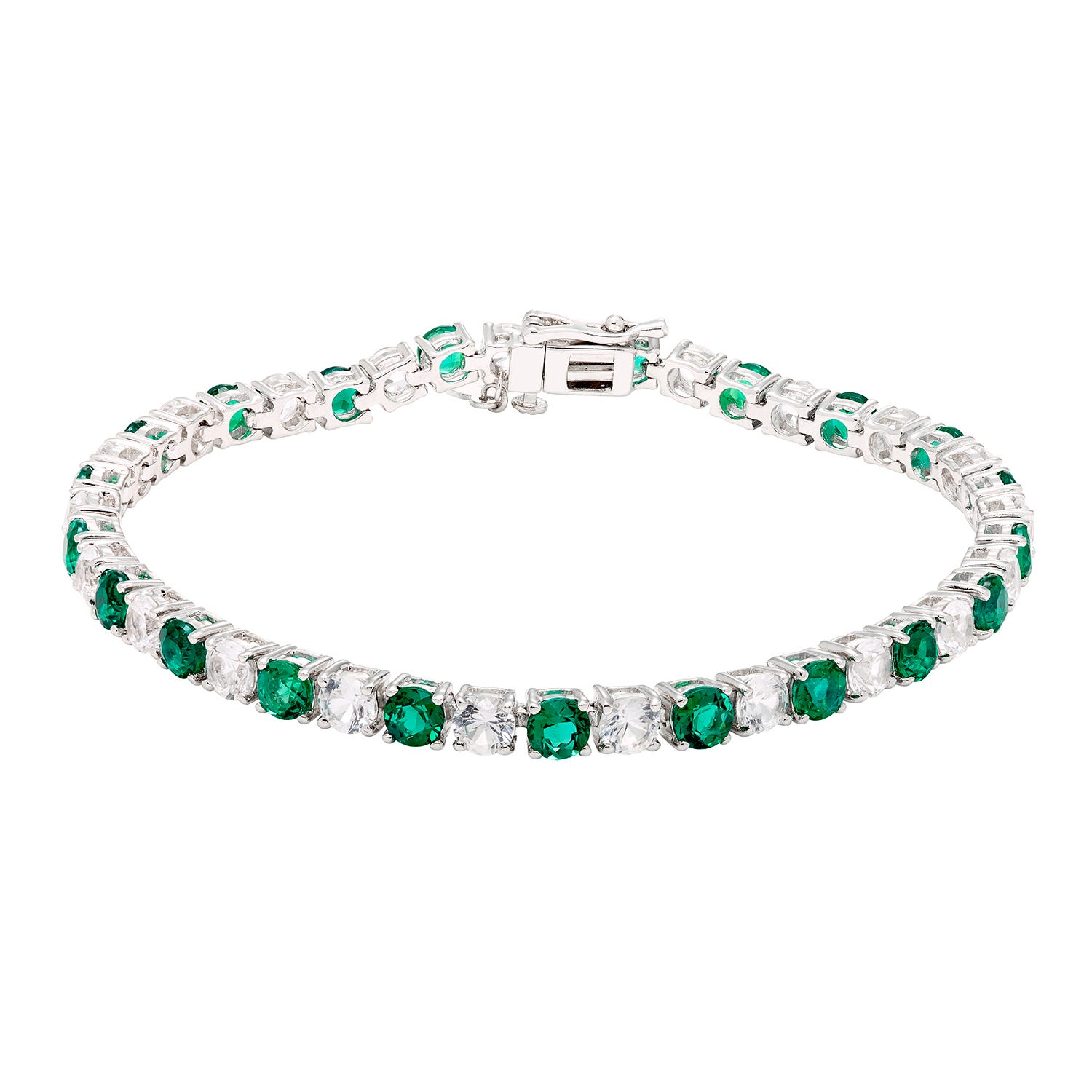 Created Emerald & White Sapphire Gemstone Tennis Bracelet in Sterling Silver